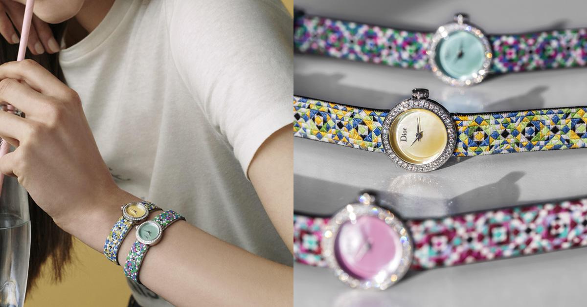入職滿21年的珠寶腕錶創意總監Victoire de Castellane將品牌設計DNA–藤格紋(Cannage)以繽紛色彩的馬賽克編織呈現,致敬迪奧精神。