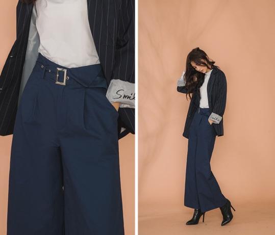 俐落的純色落地寬褲剪裁,絕佳的面料挺度特性,無疑是打造逆天長腿的最佳單品