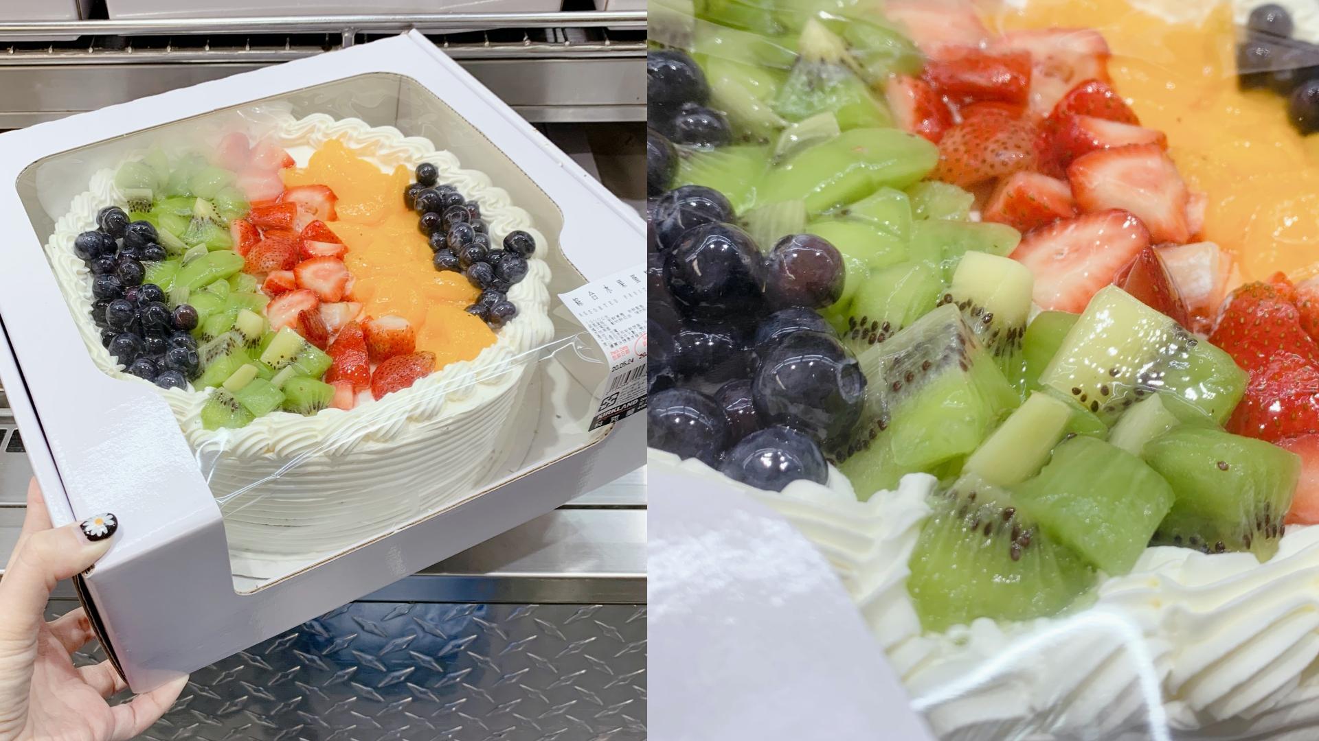 近期這款綜合水果蛋糕以幾乎零負評的聲量創造出爆量銷售,除了價格只要NT.499之外,上面還放滿各種水果,奶油、卡士達、蛋糕本體都在水準之上