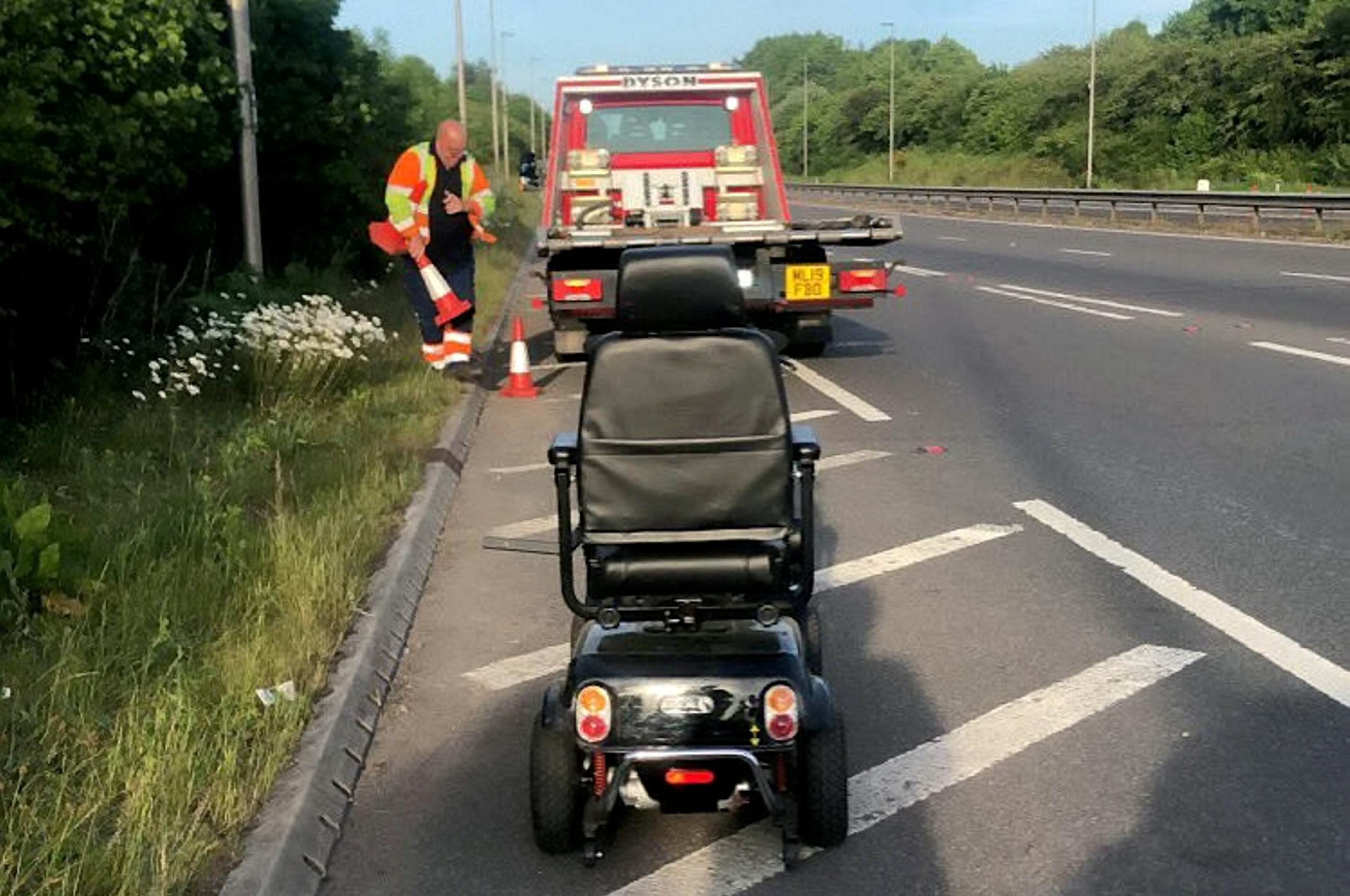 A mobility scooter was spotted being driven on a dual carriageway between Shrewsbury and Telford (Picture: SWNS)