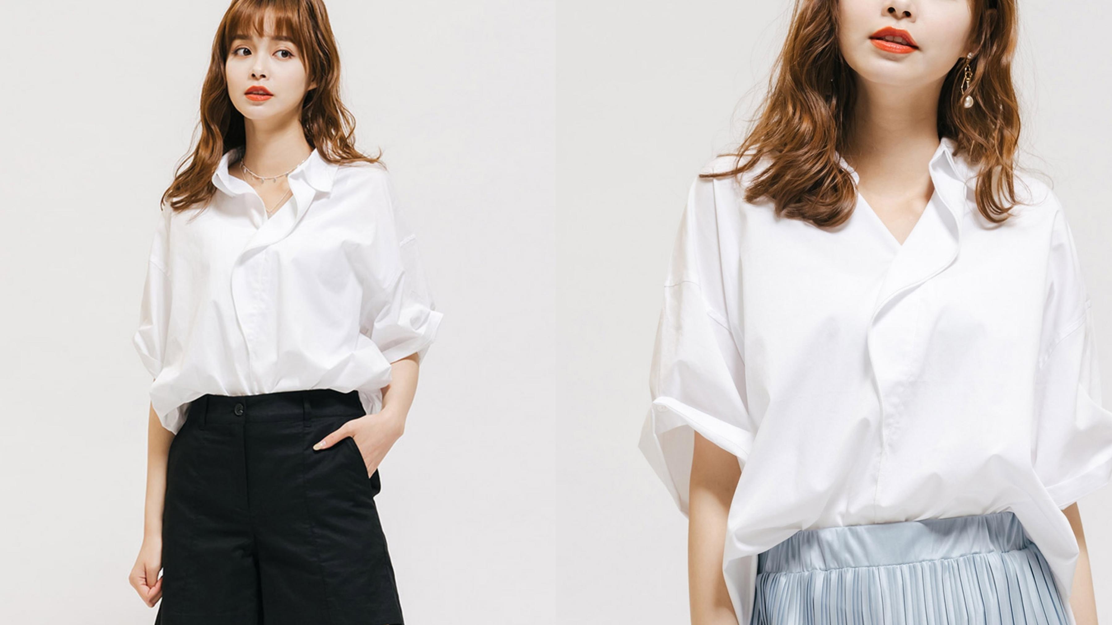 落肩設計修身顯瘦,加上偏硬挺的襯衫材質,穿上秒修飾又藏肉
