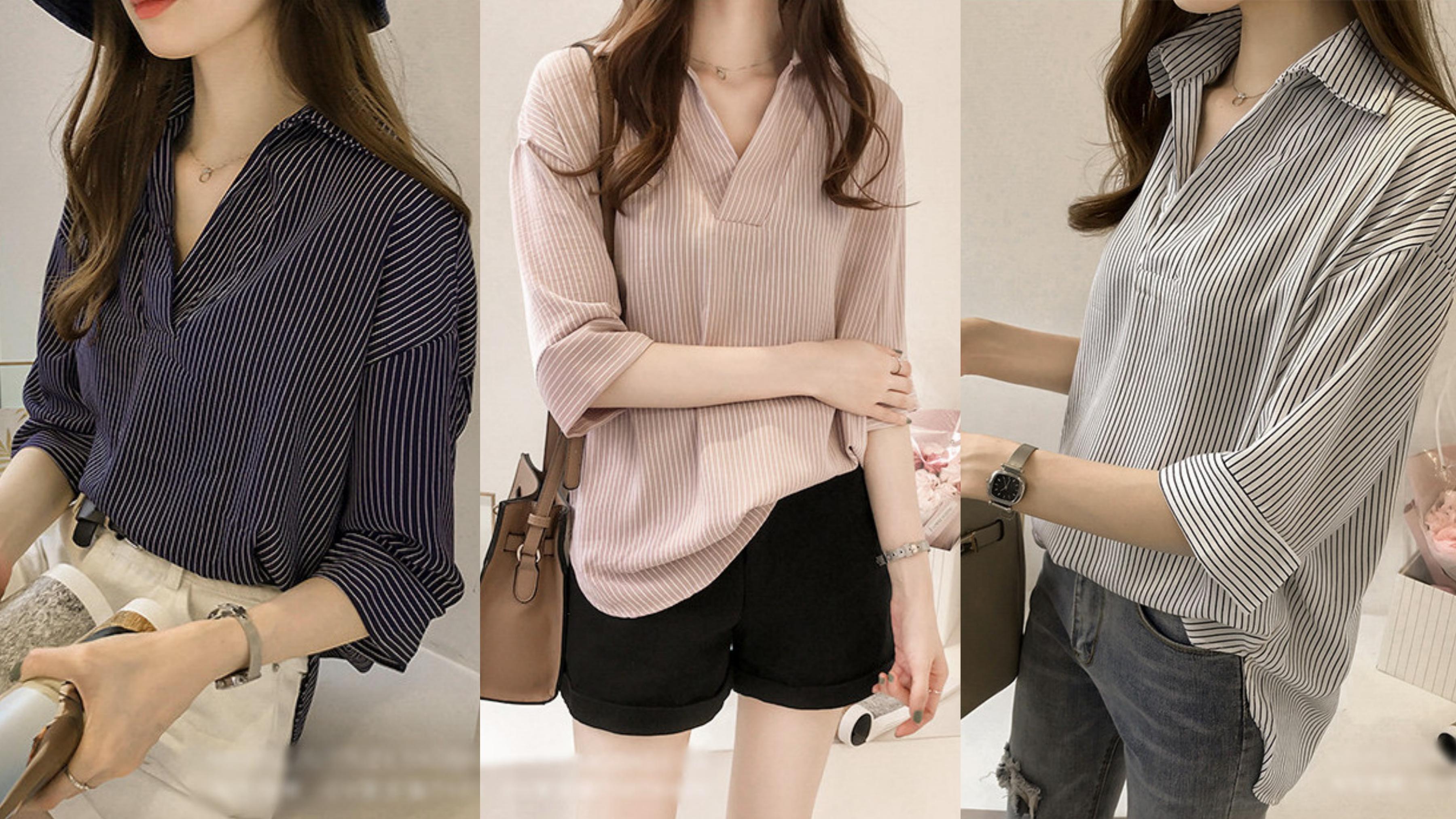 穿上就是時髦+休閒同時擁有,V領寬鬆設計,巧妙遮掩肥小腹