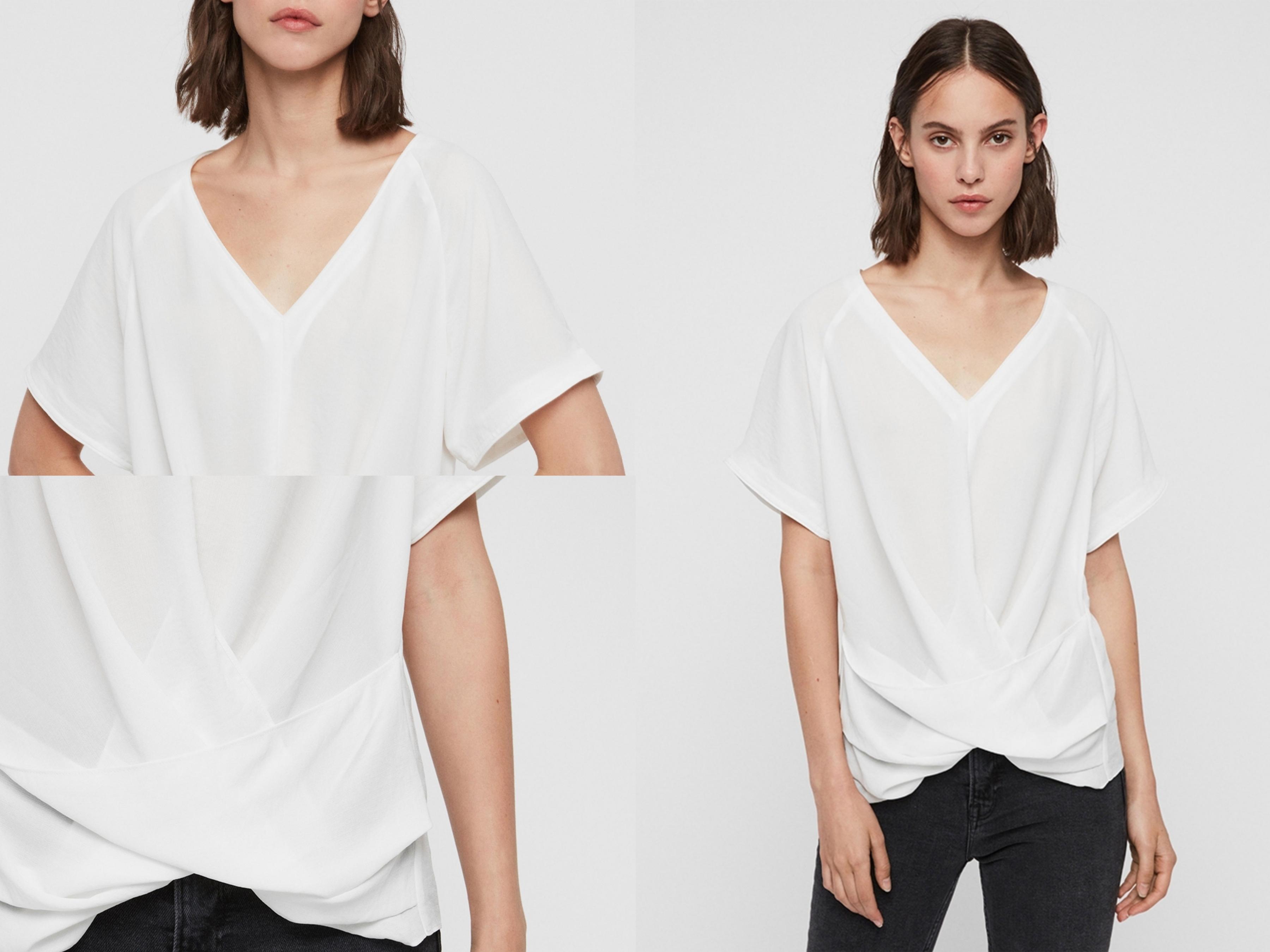 PIPER 短袖T恤採用輕質半透明面料製成,顯瘦的V領領口設計