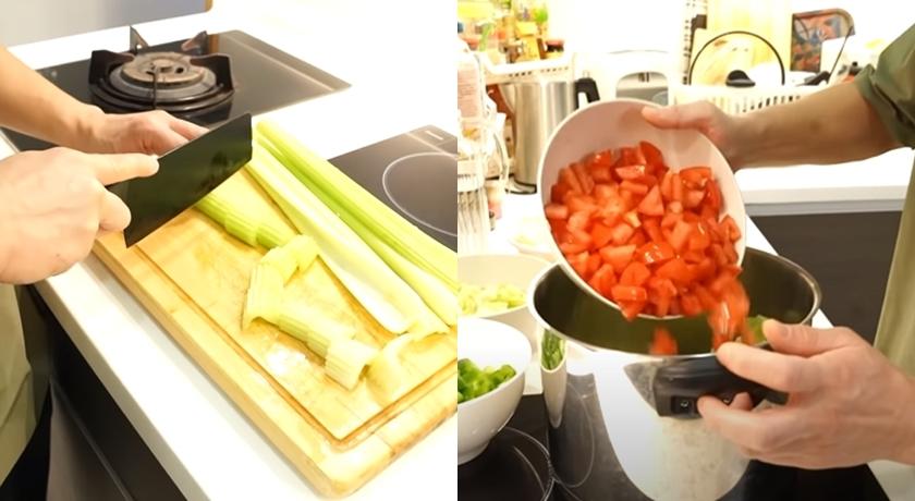 將所有食材切成小塊,然後燉煮到軟爛。