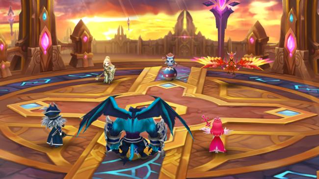 ▲《魔靈召喚》公會據點戰賽季獎勵「背景特效」(左:一般背景,右:冠軍背景)