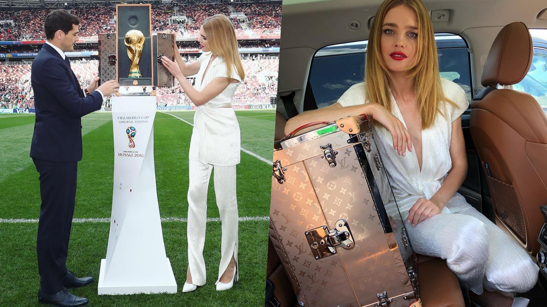 手上拿著由LV製作的皮箱、護著大力神盃出場,瞬間足球場彷彿變成伸展T台!
