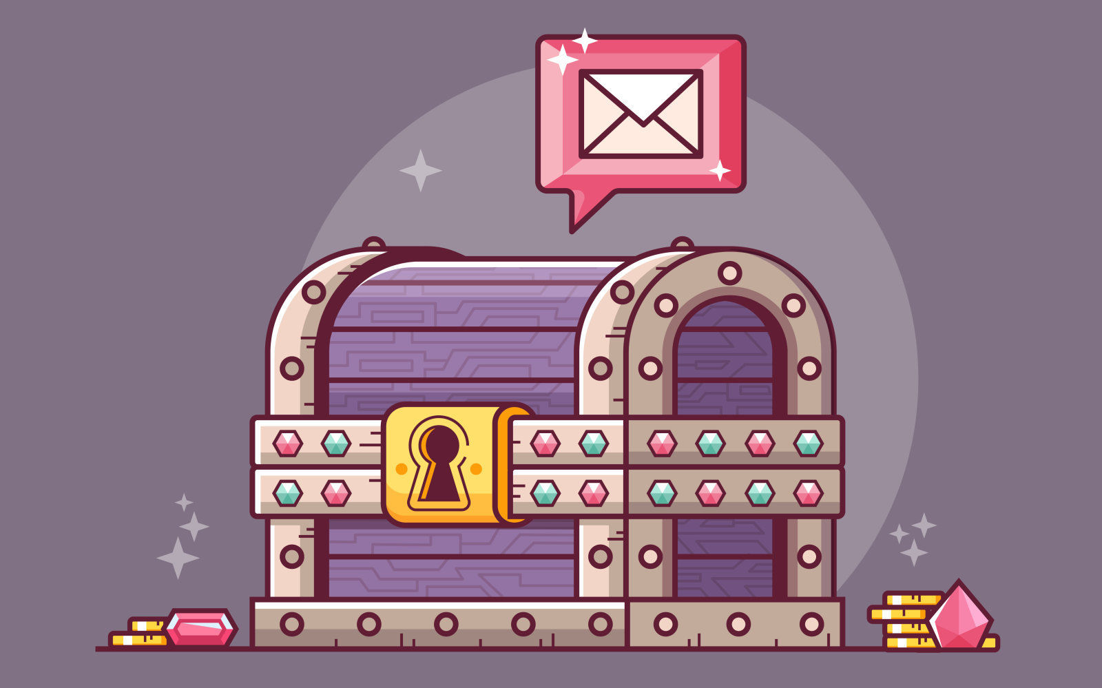 Getting email or important message concept with fantasy treasure chest. Receiving mail abstract RPG themed illustration. Opening magic box.