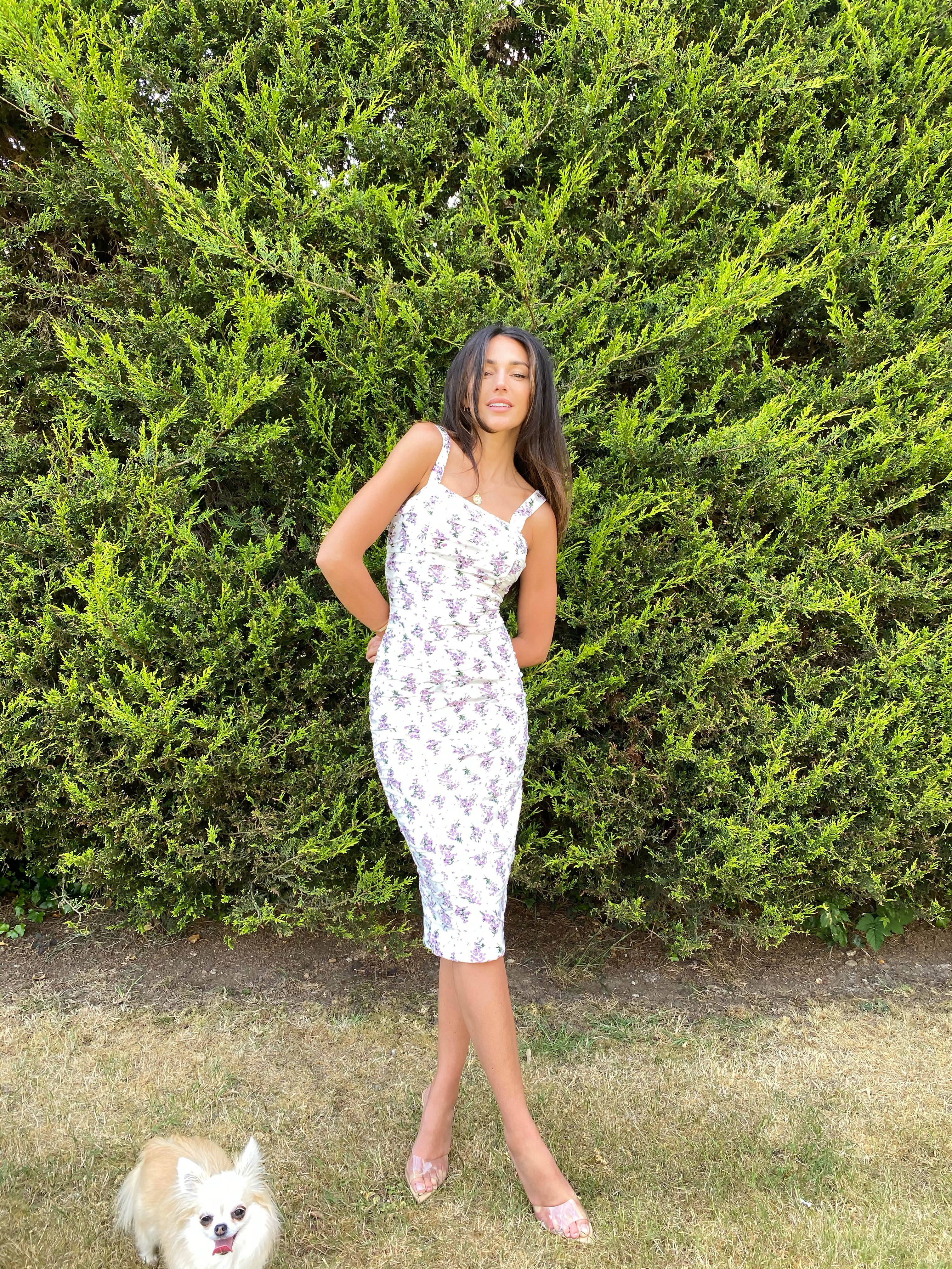 Michelle Keegan models the Ruched Stretch Bodycon Dress from her Very collection range in her garden.  (Very)