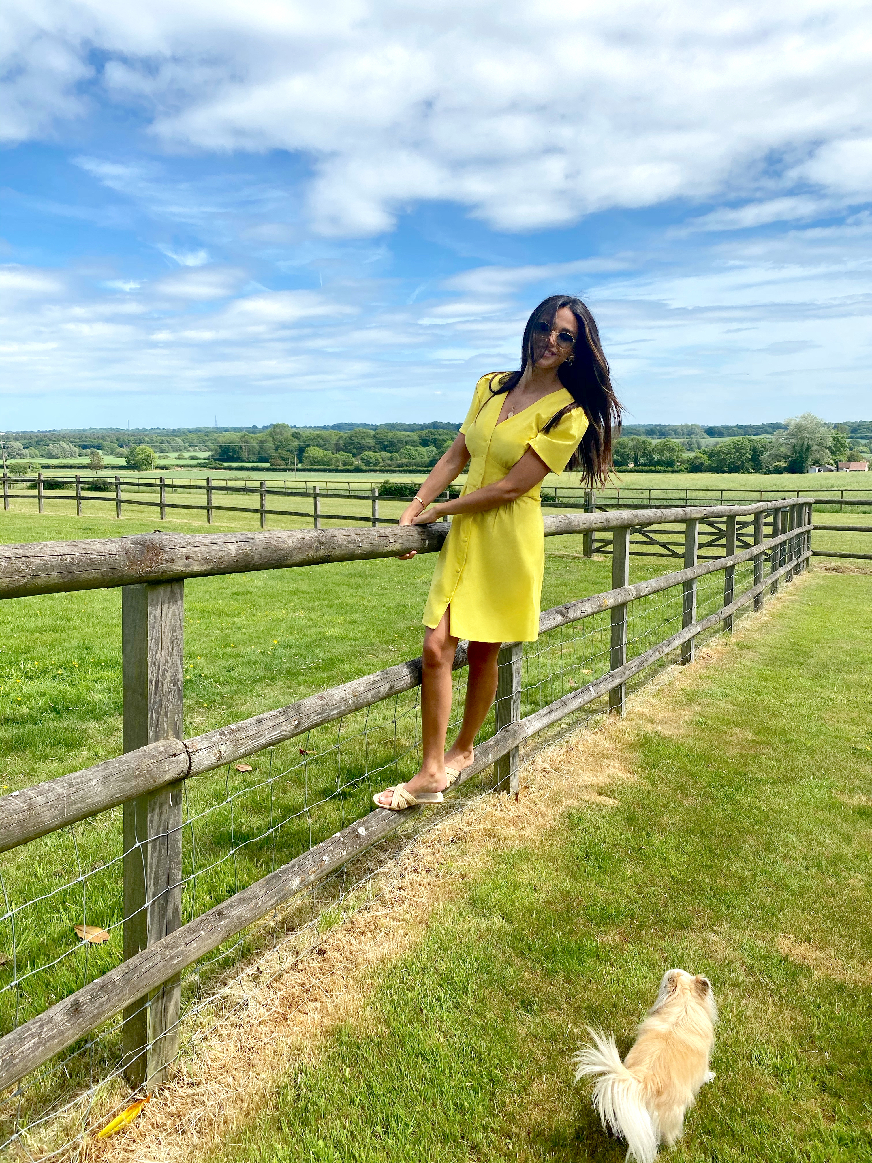 Michelle Keegan plays around in the garden, and swings from a fence, in a vibrant yellow sundress from her new drop.  (Very)