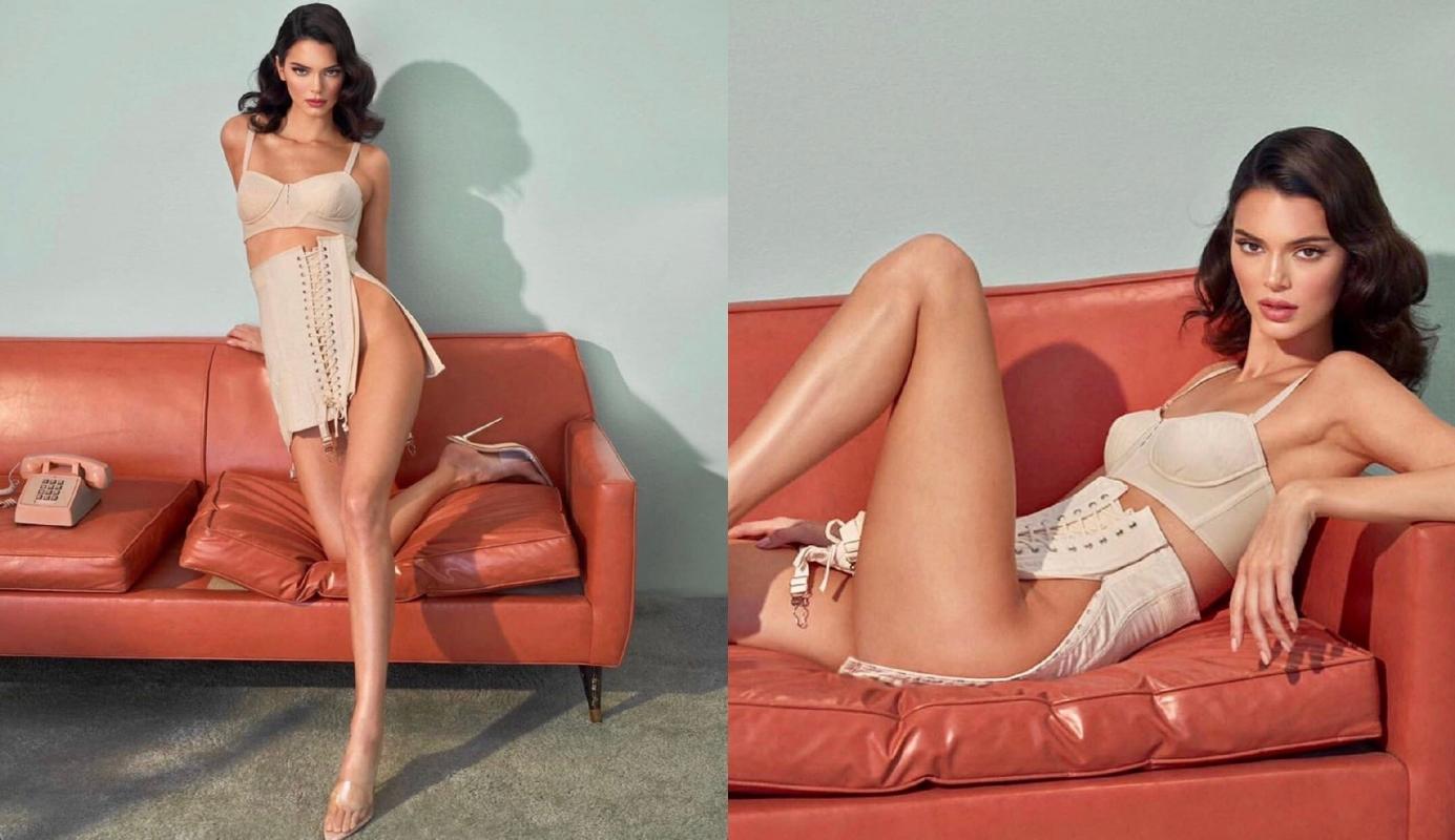 Kendall Jenner為聯名系列穿上復古馬甲的造型相當火辣。(截自Kylie Cosmetics IG)