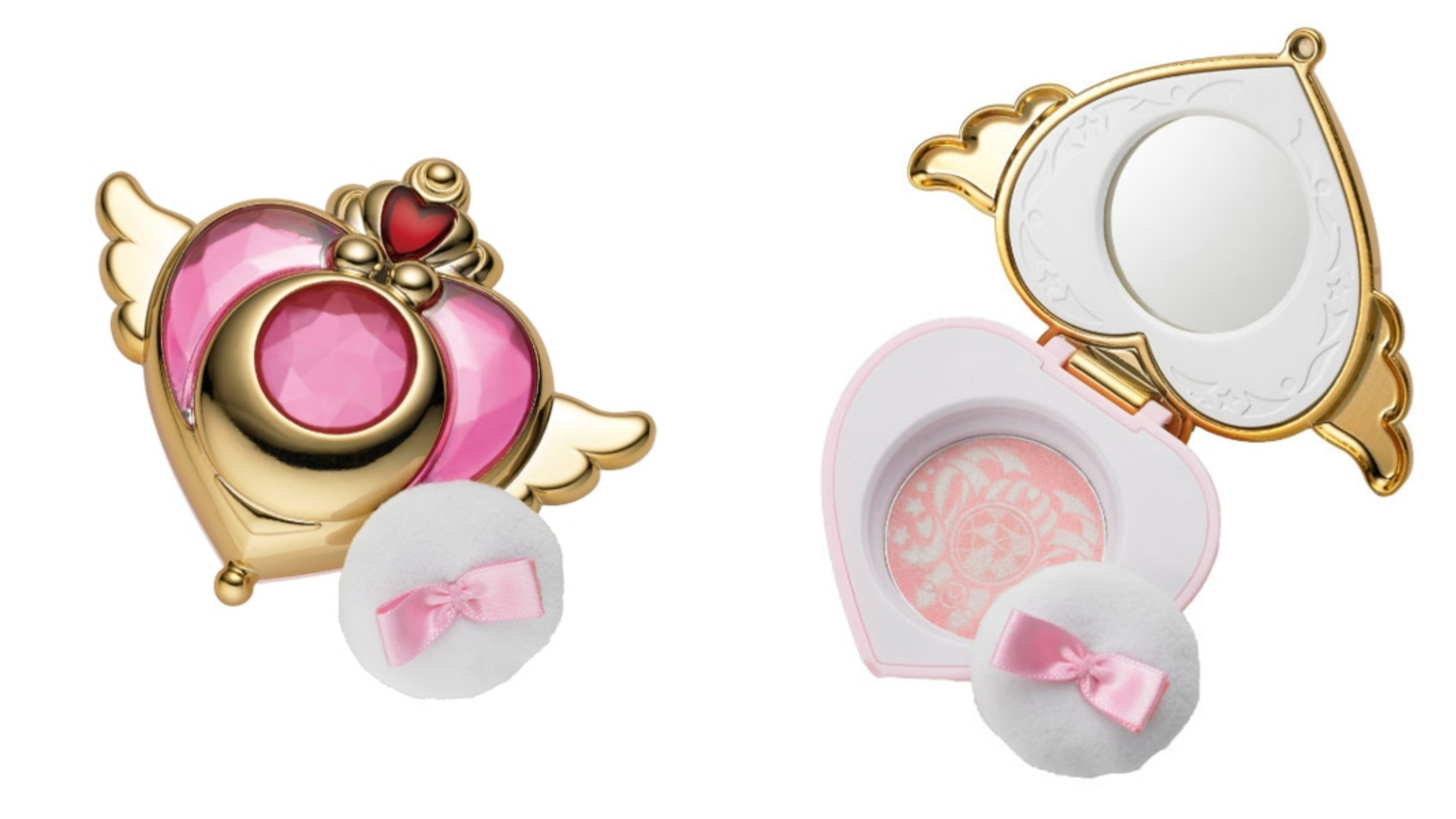 """水手月亮的變身道具""""幻彩月光鏡盒""""為外型的粉色腮紅,"""
