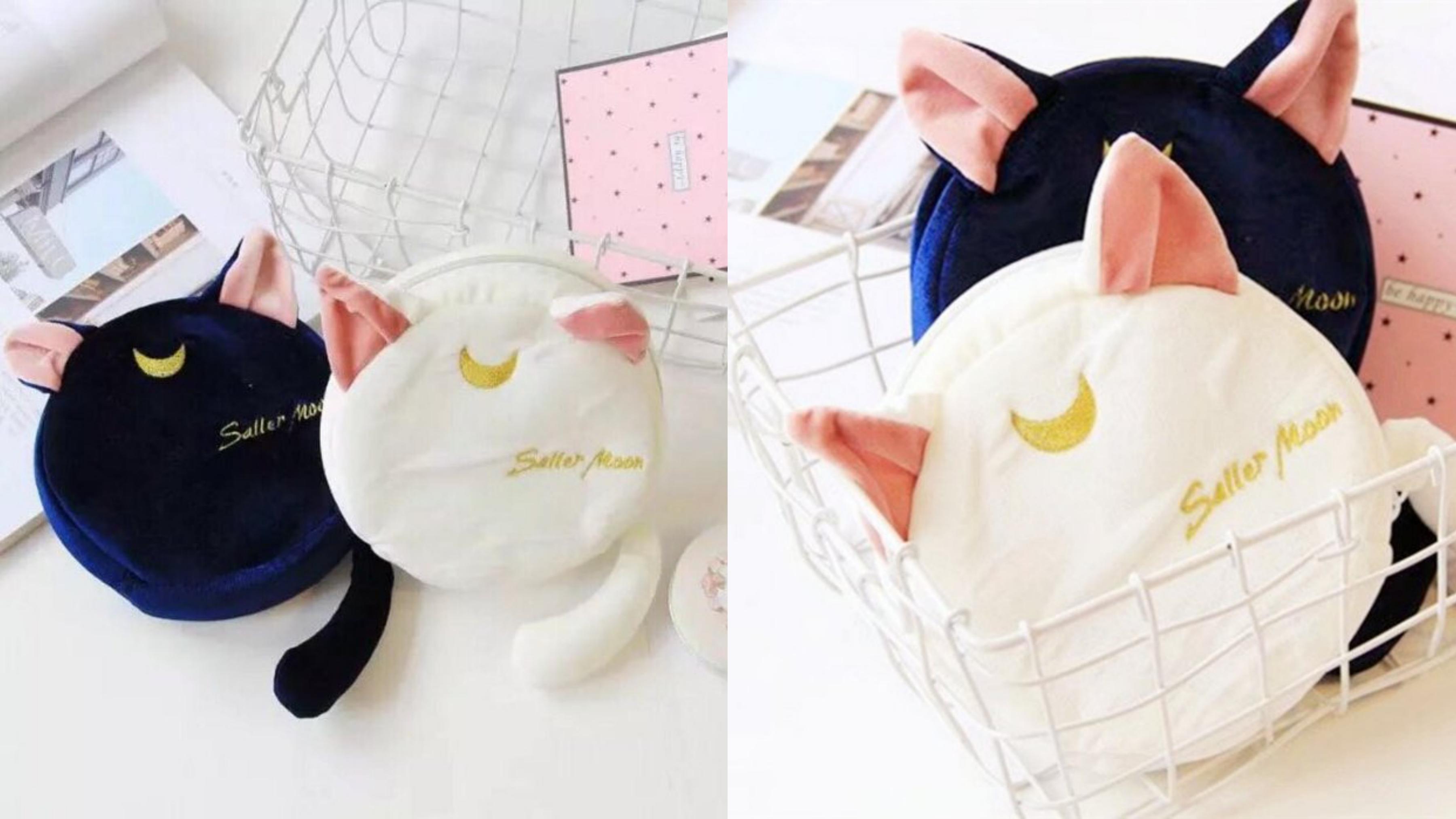 可愛美少女戰士露娜貓收納包,立體耳朵跟長尾巴超萌,手感柔軟舒適