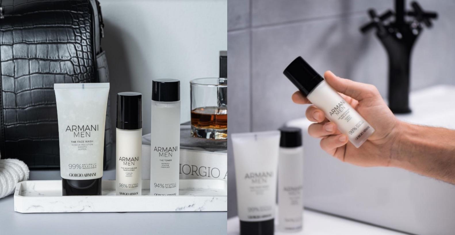 2020年Giorgio Armani推出全新【亞曼尼男仕保養系列】,推出3款男性最愛的護膚品,包括潔顏乳、保濕露及保濕乳,俐落的白色瓶身猶如亞曼尼白襯衫般簡潔自然,而黑色的瓶蓋就像黑色領結,象徵著男性簡約、穩重又自信的迷人風采,透過簡單的清潔、保濕、鎖水三步驟照顧好男性面子,由內而外打造最具品味的質感生活。