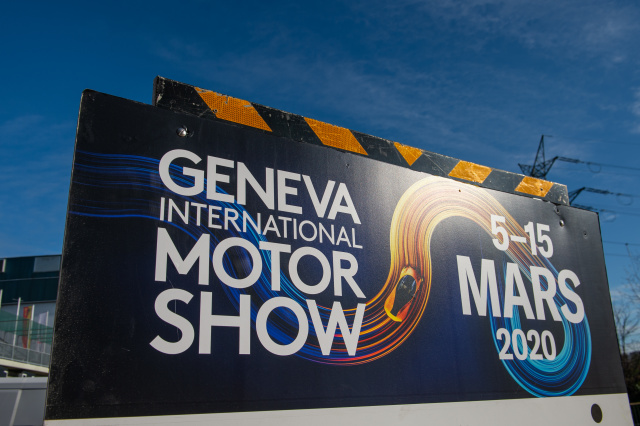 GENEVA, SWITZERLAND - FEBRUARY 28: Banner of GIMS 2020 is being displayed after cancellation of the Geneva Auto Show on February 28, 2020 in Geneva, Switzerland. Swiss authorities announced today that all upcoming events with more than 1,000 attendees will be cancelled in an attempt to prevent further spread of the coronavirus. Hundreds of coronavirus cases have been confirmed in nearby northern Italy and smaller numbers of cases are being confirmed daily across western Europe. (Photo by Robert Hradil/Getty Images)