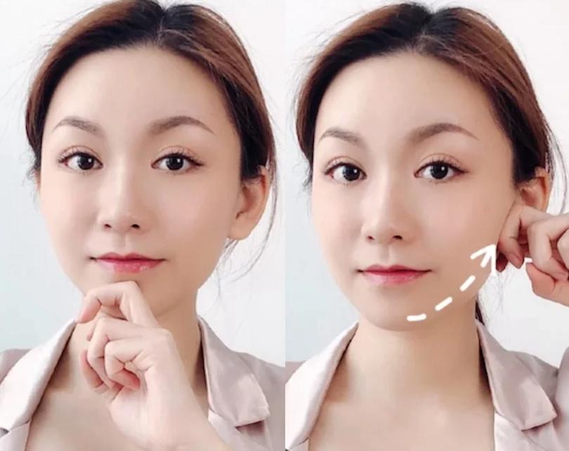 圓肉臉→小V臉按摩瘦臉法,一週瘦出下頷線