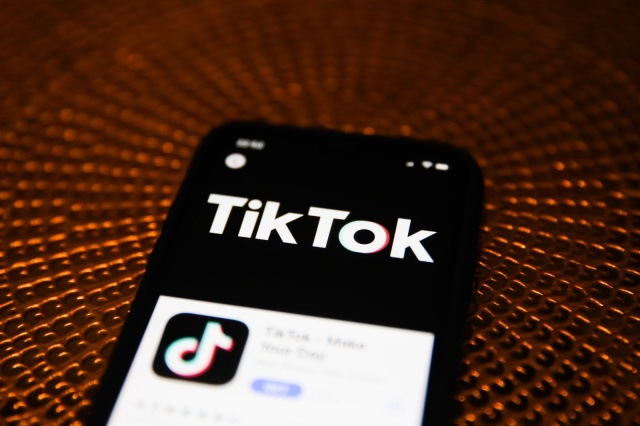 TikTok logo is seen displayed on phone screen in this illustration photo taken in Poland on February 20, 2020. (Photo illustration byJakub Porzycki/NurPhoto)
