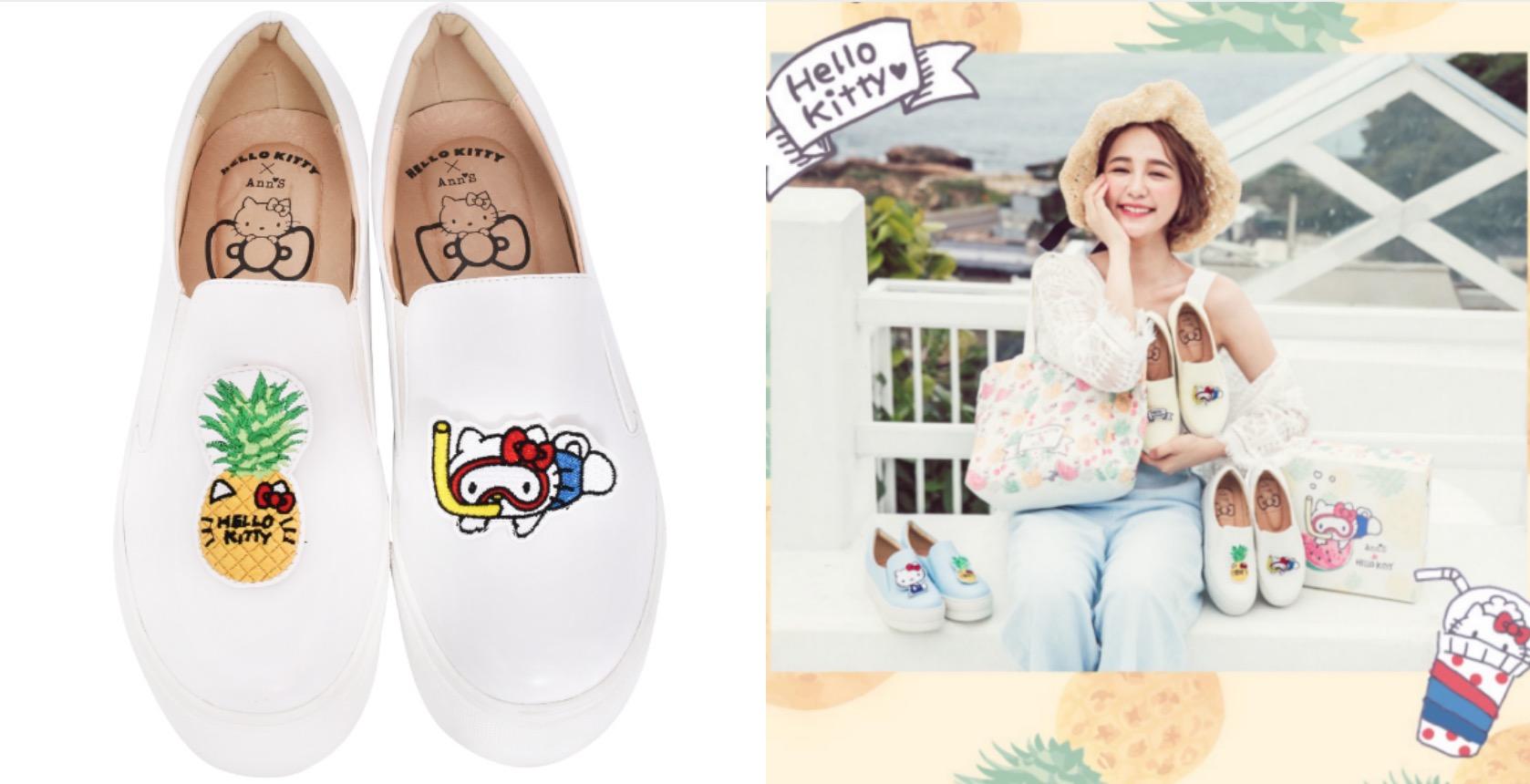 """以限定稀有的""""Hello Kitty熱帶圖案""""為主題,將可愛的圖案設計在鞋款上,戴上潛水鏡的Hello Kitty和你一起展開可愛的夏季,連甜甜鳳梨和椰子樹都戴上了KITTY的招牌蝴蝶結,數量限定!售完不追加!"""