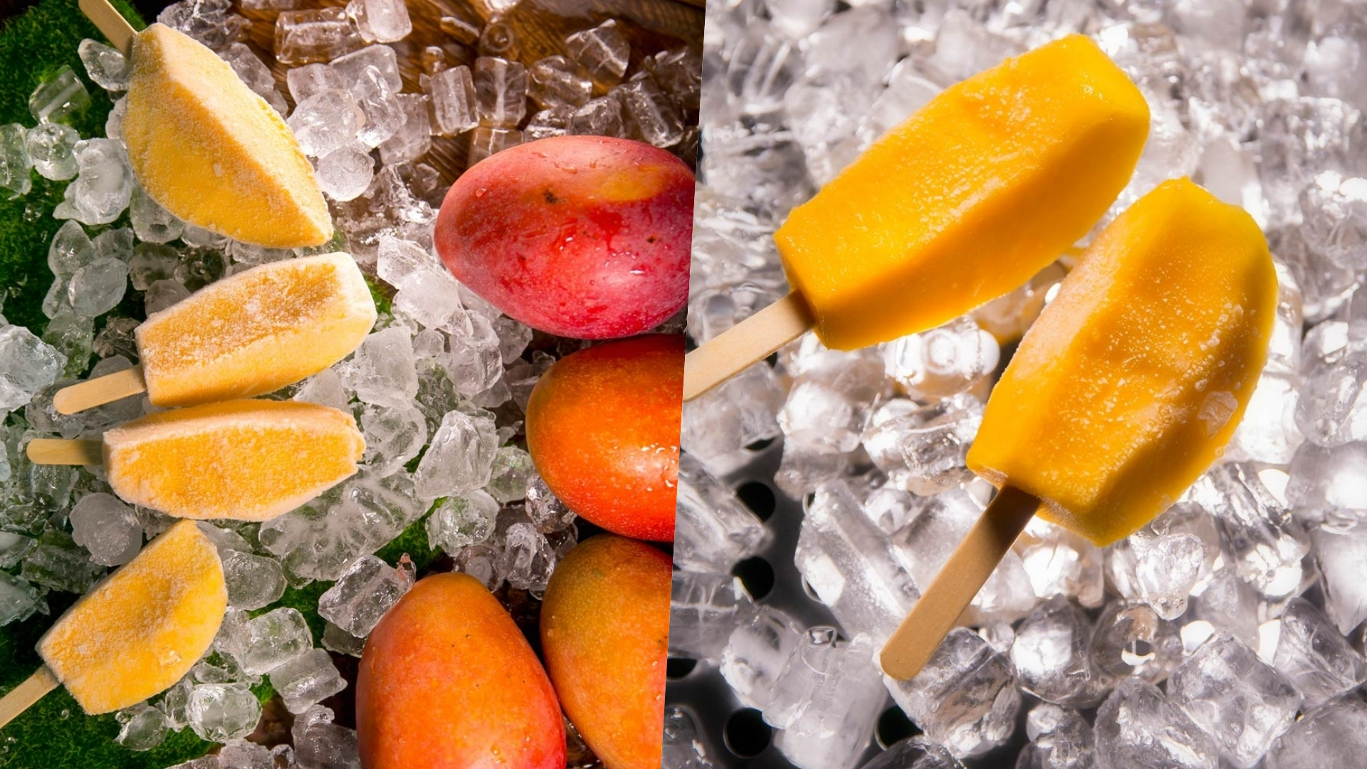 嚴選外銷日本等級的芒果,冷凍製成冰棒,吃起來有冰淇淋的口感,一路到冬天都能品嚐芒果的美味!