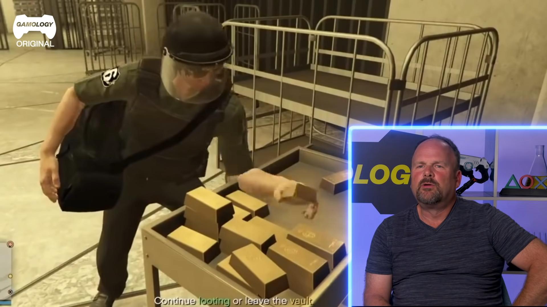 真搶匪吐槽遊戲,一個人居然能背這麼多金條。(圖源:Youtube)