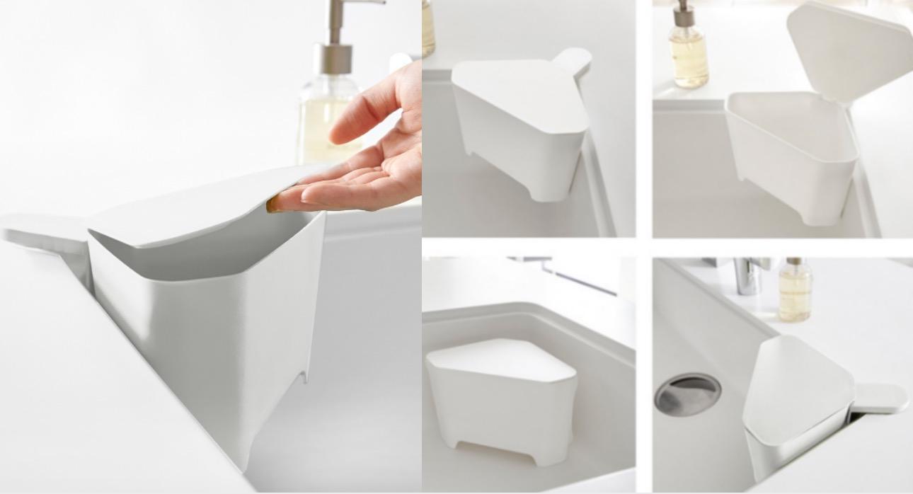 三角造型完全服貼於水槽轉角,附有可拆式吸盤安裝把柄,可以輕鬆安裝於水槽或水槽邊緣。底部具有排水孔能迅速瀝乾、不積水!簡單形成小型垃圾筒及簡便瀝水器,讓洗滌同時還能迅速丟棄果皮、菜梗等。附有蓋子能阻隔氣味、保持衛生。