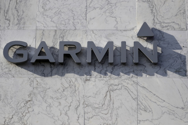 A Garmin logo is pictured on a building along the Lincoln Road Mall in Miami Beach, Florida March 17, 2016. REUTERS/Carlo Allegri - GF10000349841