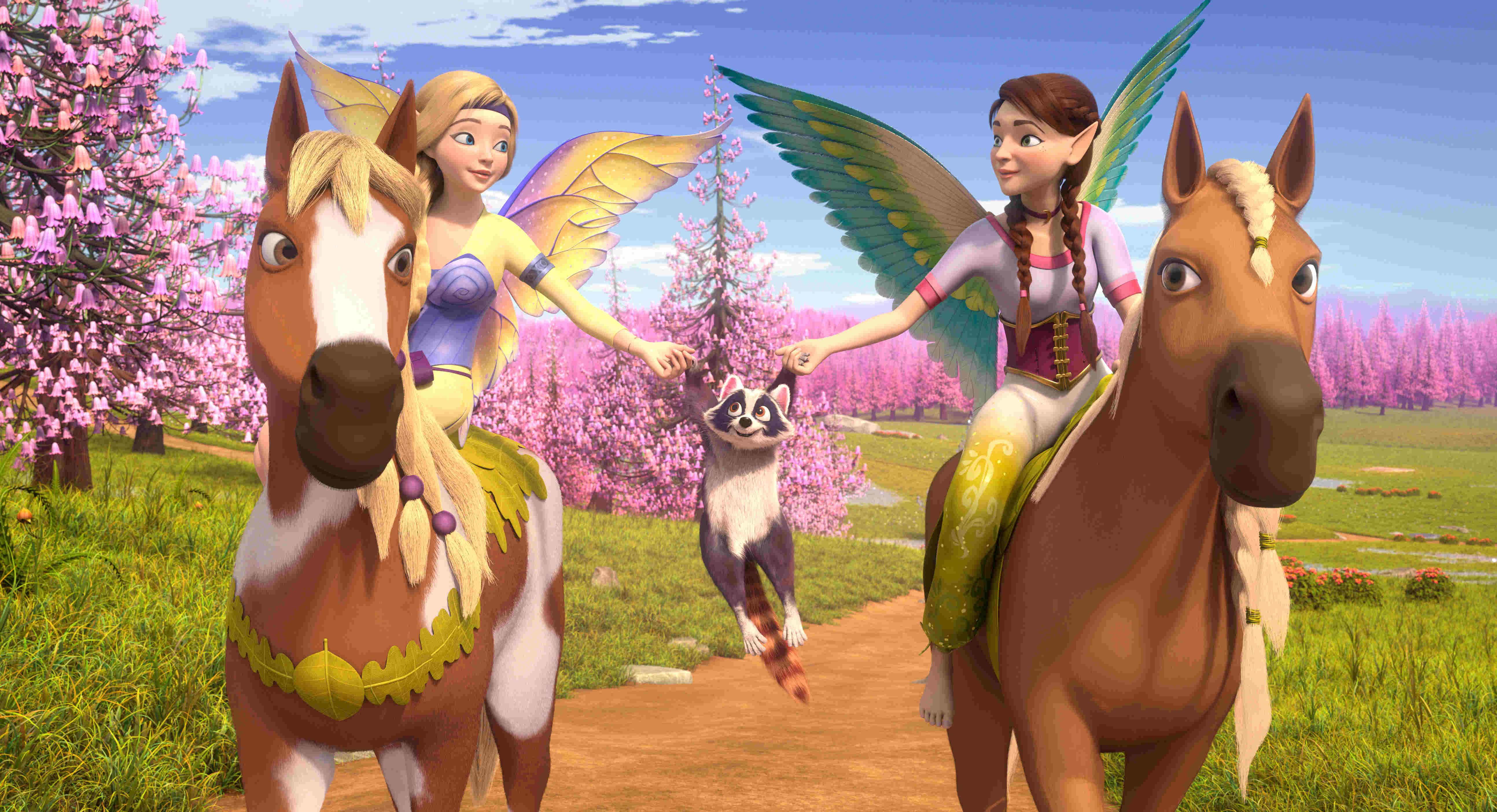 「太陽精靈」公主莎拉與蘇拉雙胞胎姊妹,要護送龍蛋前往龍之峰 連浣熊都加入陣容