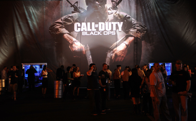 arrives at the Call Of Duty: Black Ops Launch Party held at Barker Hangar on November 4, 2010 in Santa Monica, California.