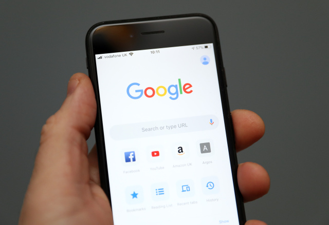 A person holds an iphone showing the app for Google chrome search engine. PA Photo. Picture date: Friday January 3, 2020. Photo credit should read: Andrew Matthews/PA Wire (Photo by Andrew Matthews/PA Images via Getty Images)