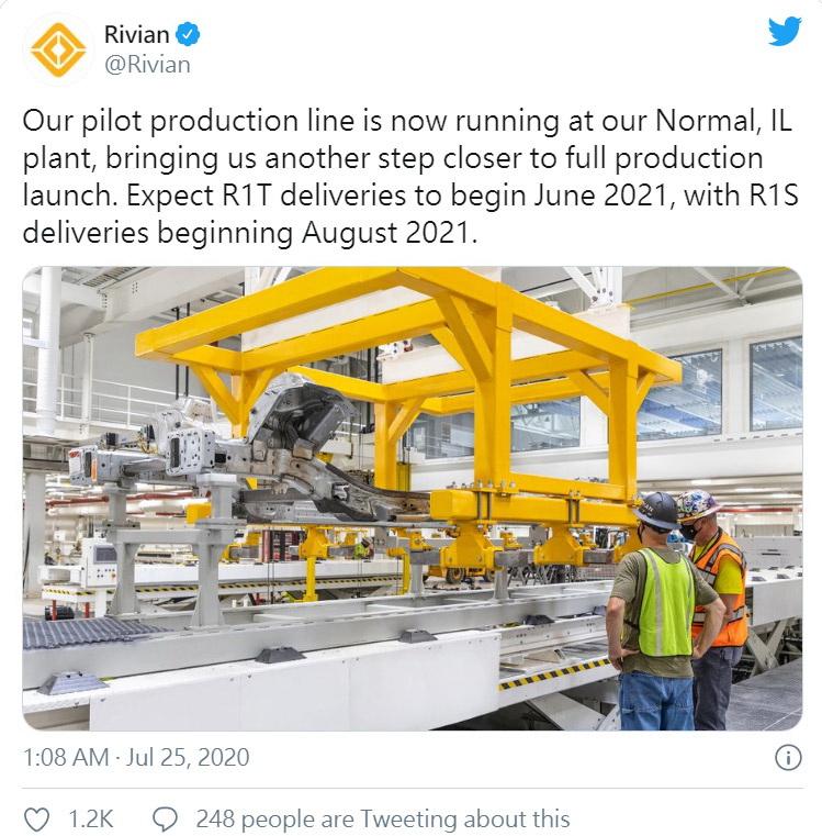 圖/Rivian在官方Twitter帳號透露端倪,日前也正式啟動位於伊利諾伊州的工廠生產線,希望明年能如期上市。