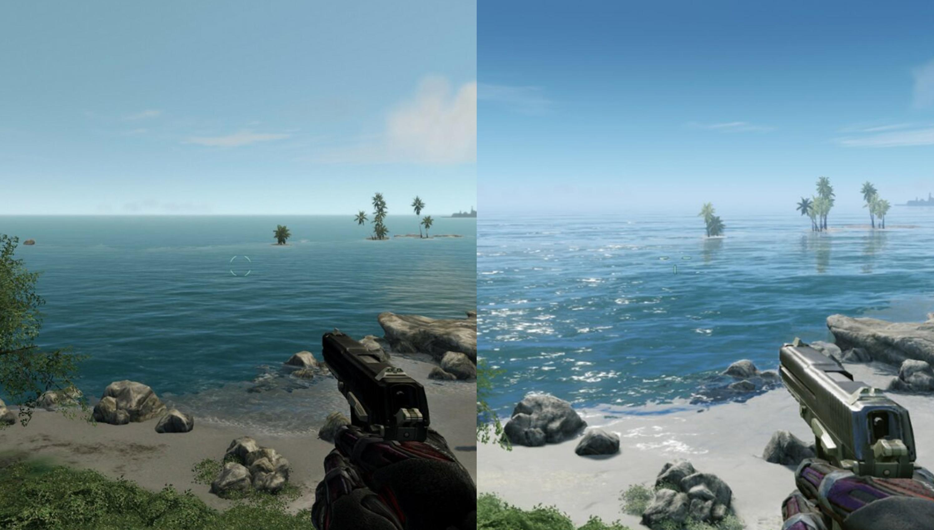 左邊原版,右邊重製版,水面上的差異還是不少。(圖源:resetera/Last_colossi)