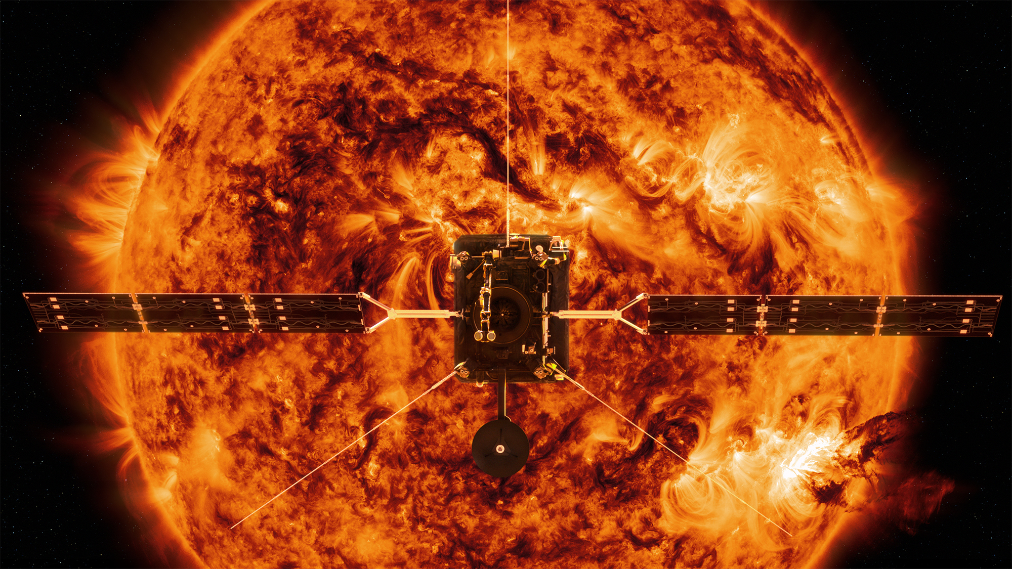 Artist impression of The Solar Orbiter in front of the Sun. (BEIS via PA)