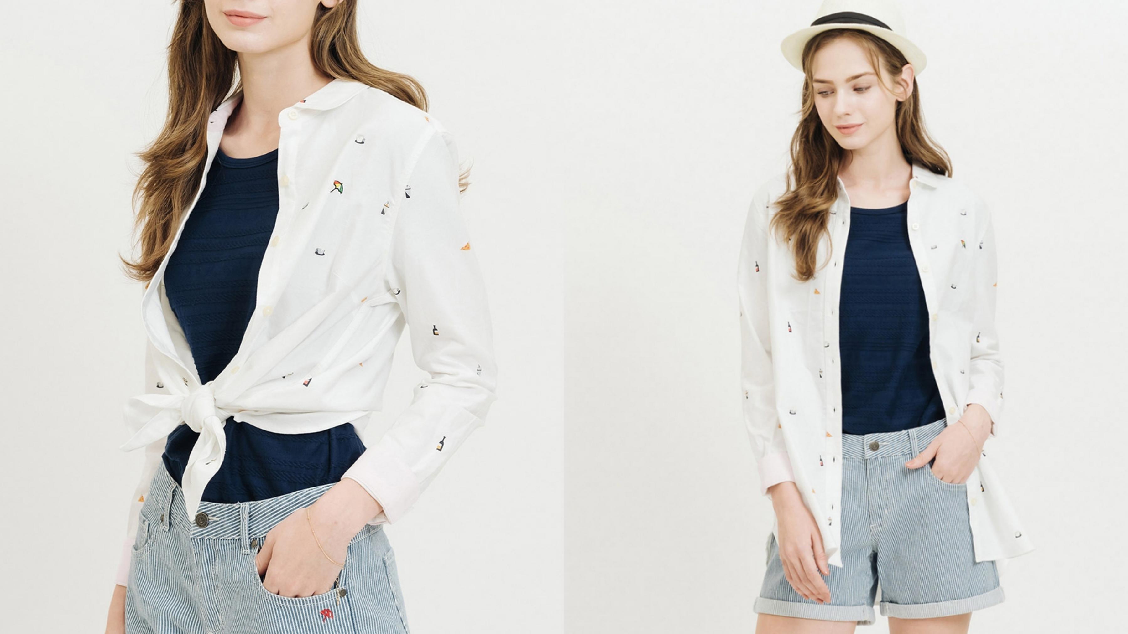 簡約純色加上滿版的義式美食印花,可愛的設計巧思讓襯衫更年輕。