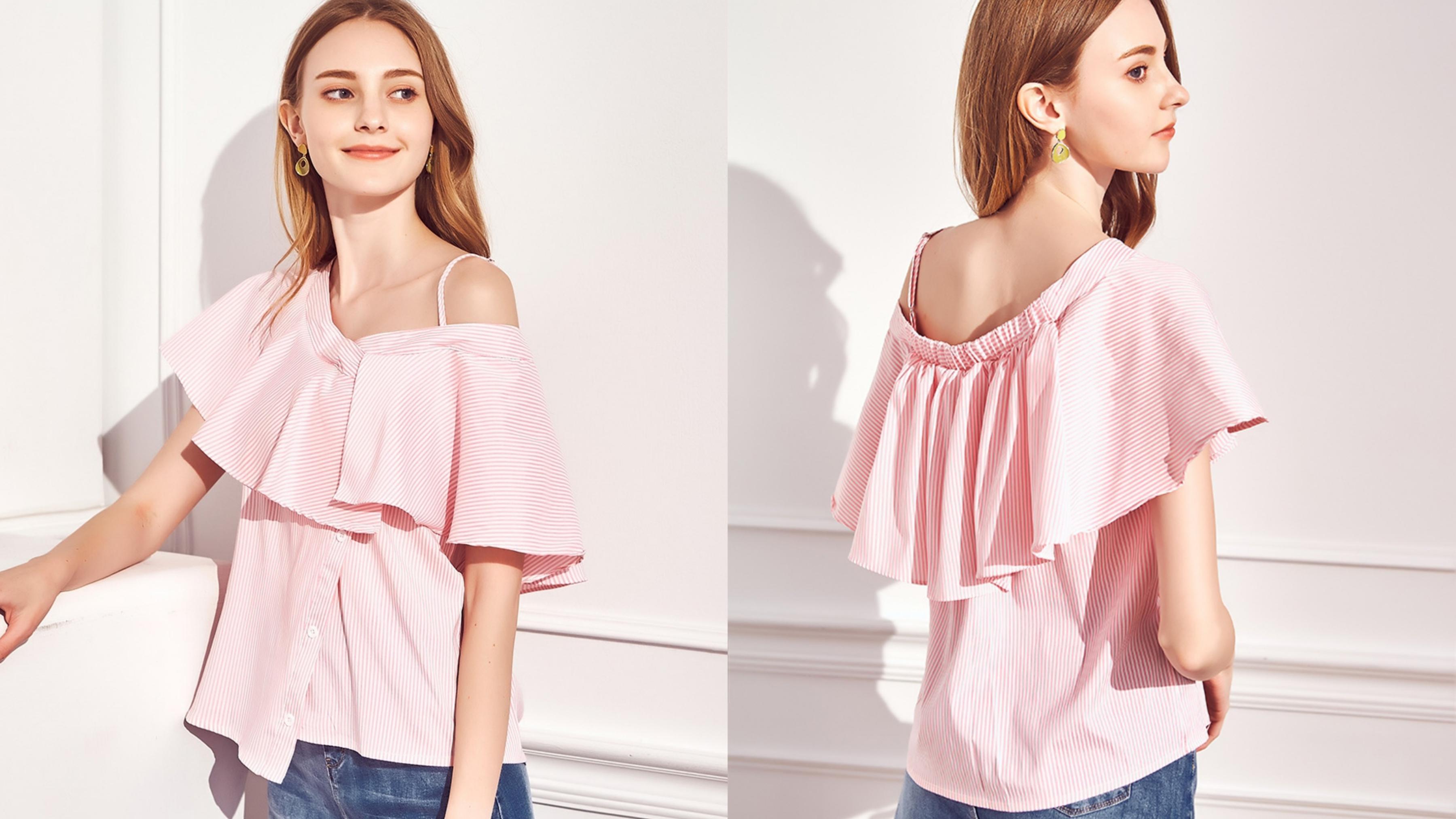 粉嫩系的直條紋設計,打造春夏甜美氣息