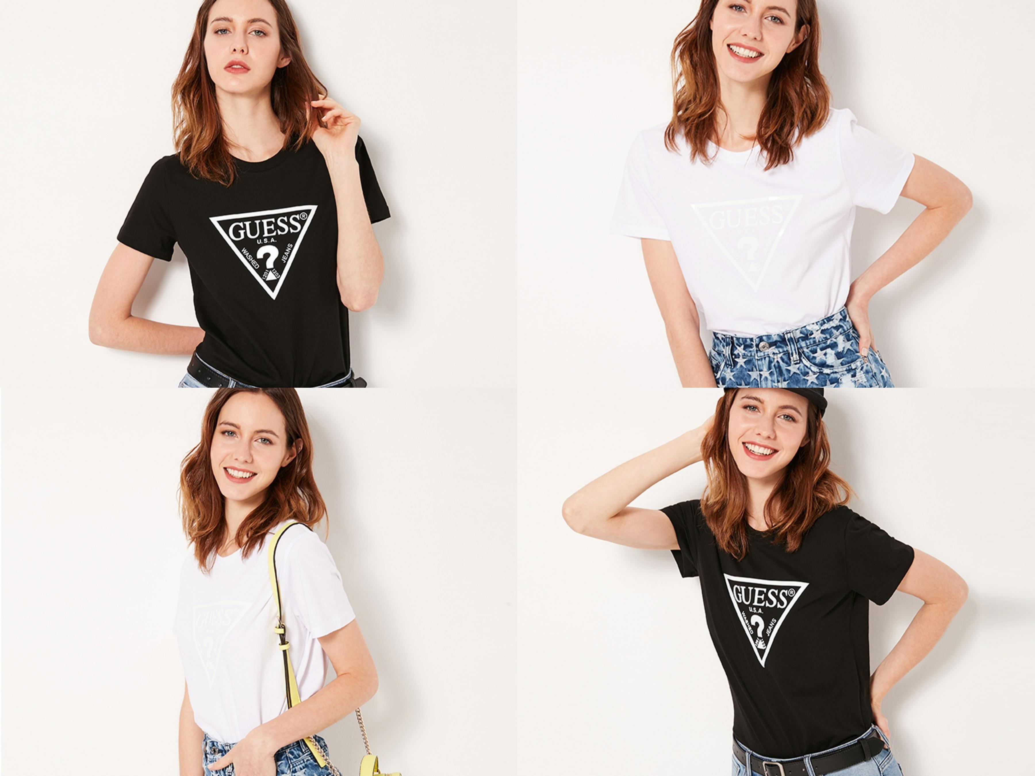 GUESS最經典的白色倒三角形LOGO短T,推出黑白兩色最實
