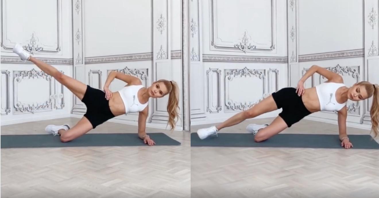 先將身體平衡住開始將腿往上抬,同時還能訓練到腰腹位置,不用器材,在家就能訓練非常方便又簡單,做完單邊記得要換腳練習。