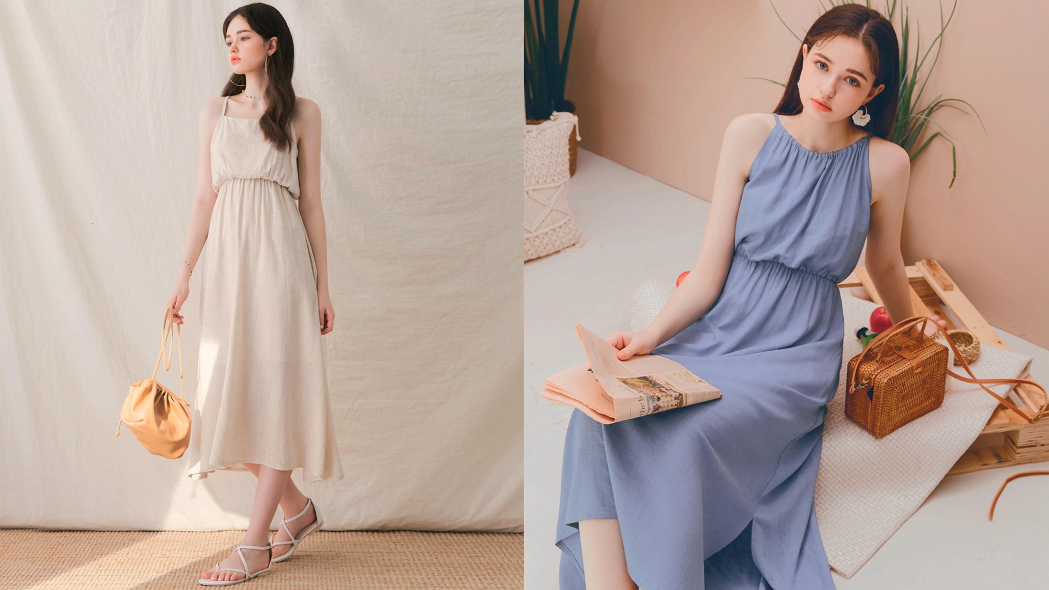 可兩面穿的長洋裝款式,營造出多種風格,而收腰設計讓整體比例變更好