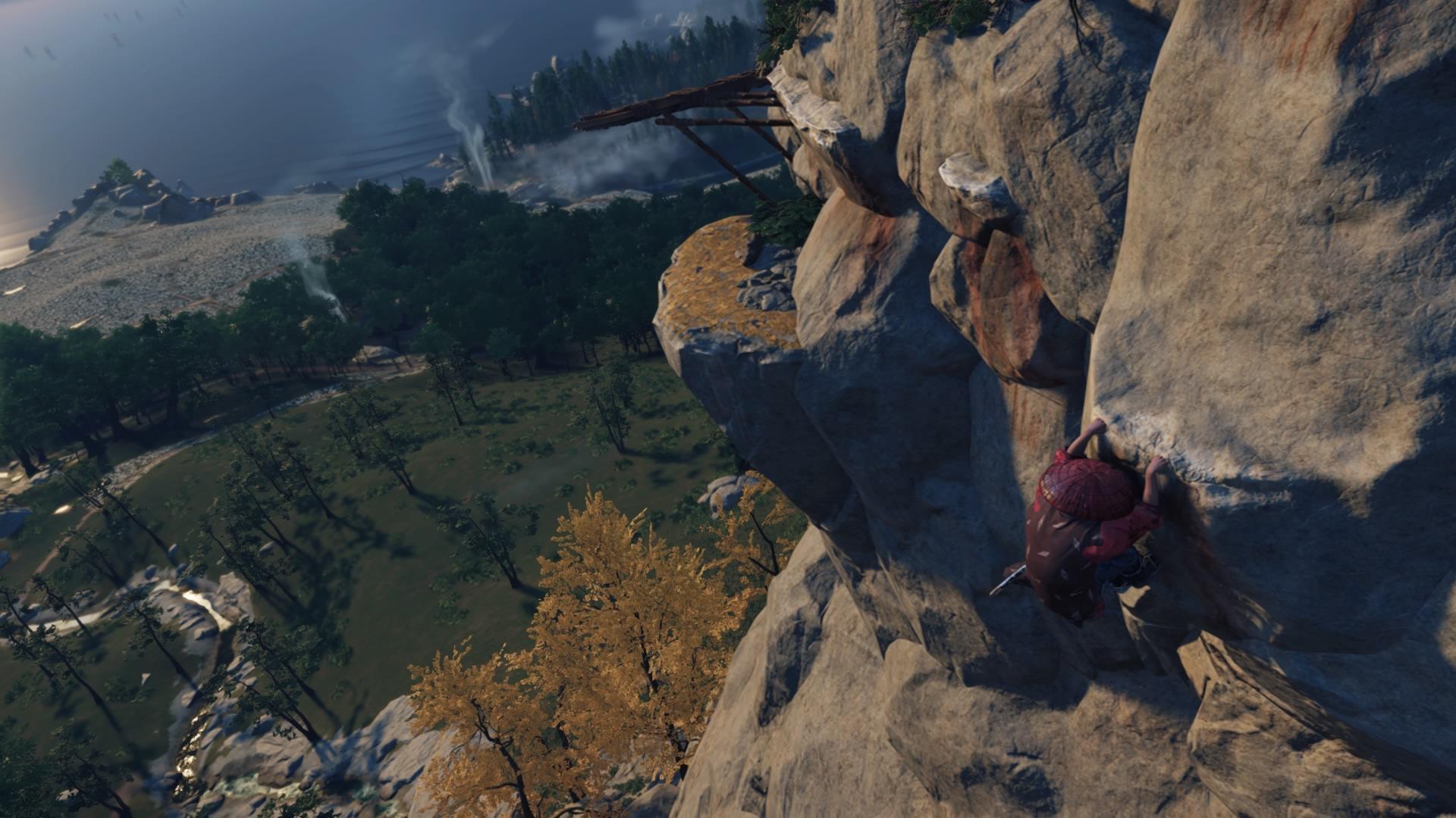 遊戲中還有許多能攀爬的點,可以爬到高處看看美麗卻又充滿戰亂的對馬島。(圖源:PS4 Pro)