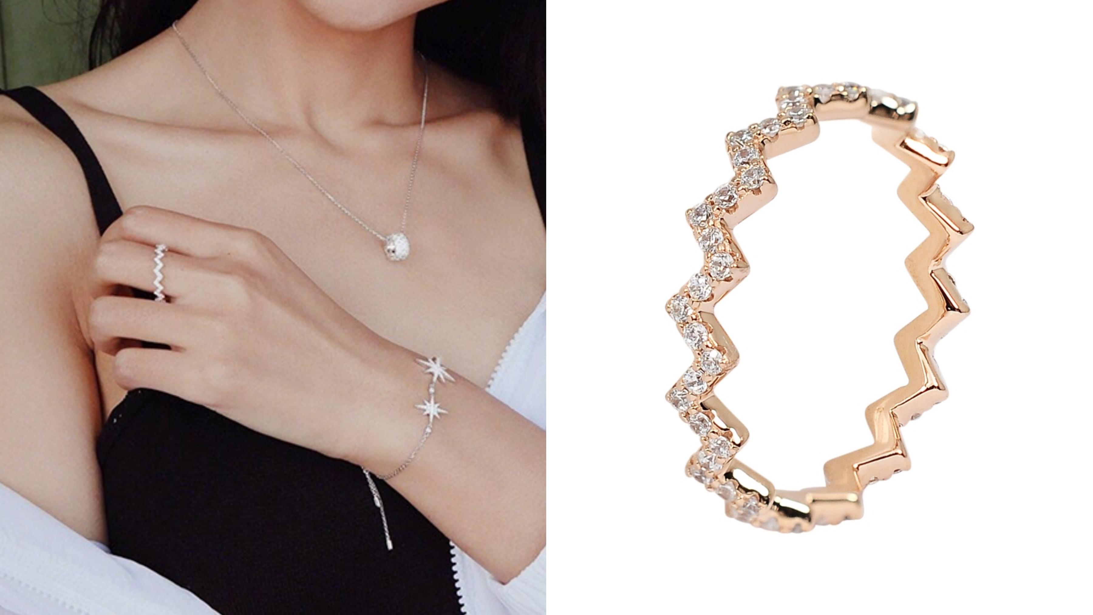 法國摩納哥優雅工藝,鑲嵌珍珠水鑽等高級珠寶,特殊的Z字波浪造型