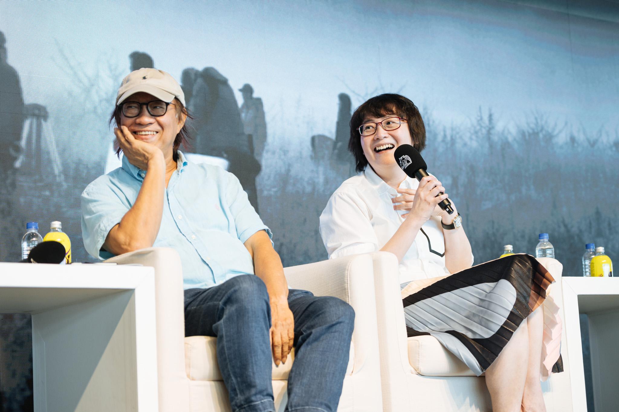2020金馬電影大師課論壇,左起剪接指導廖慶松、藝術指導黃文英
