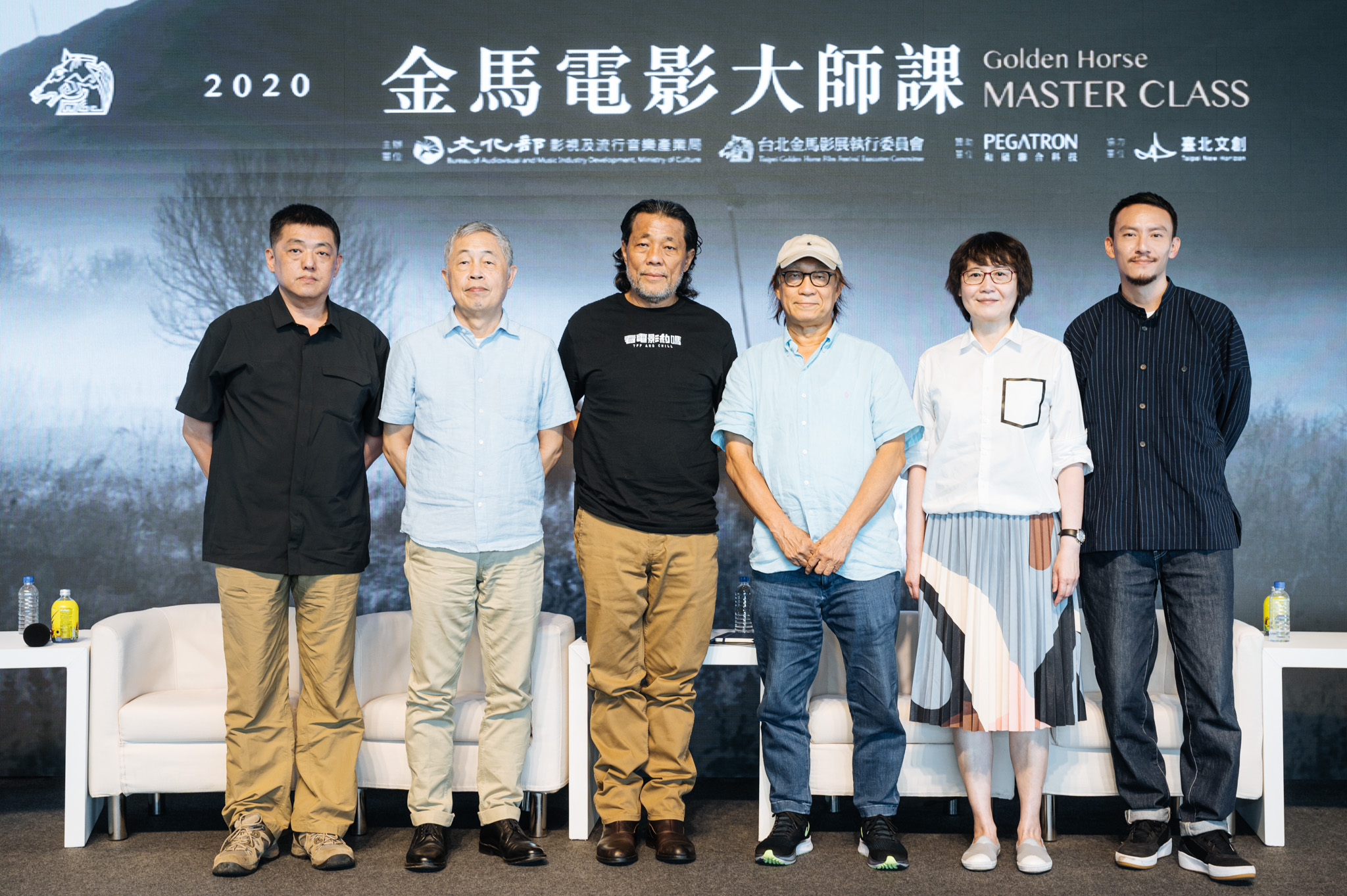 2020金馬電影大師課論壇,左起林強、杜篤之、李屏賓、廖慶松、黃文英、張震