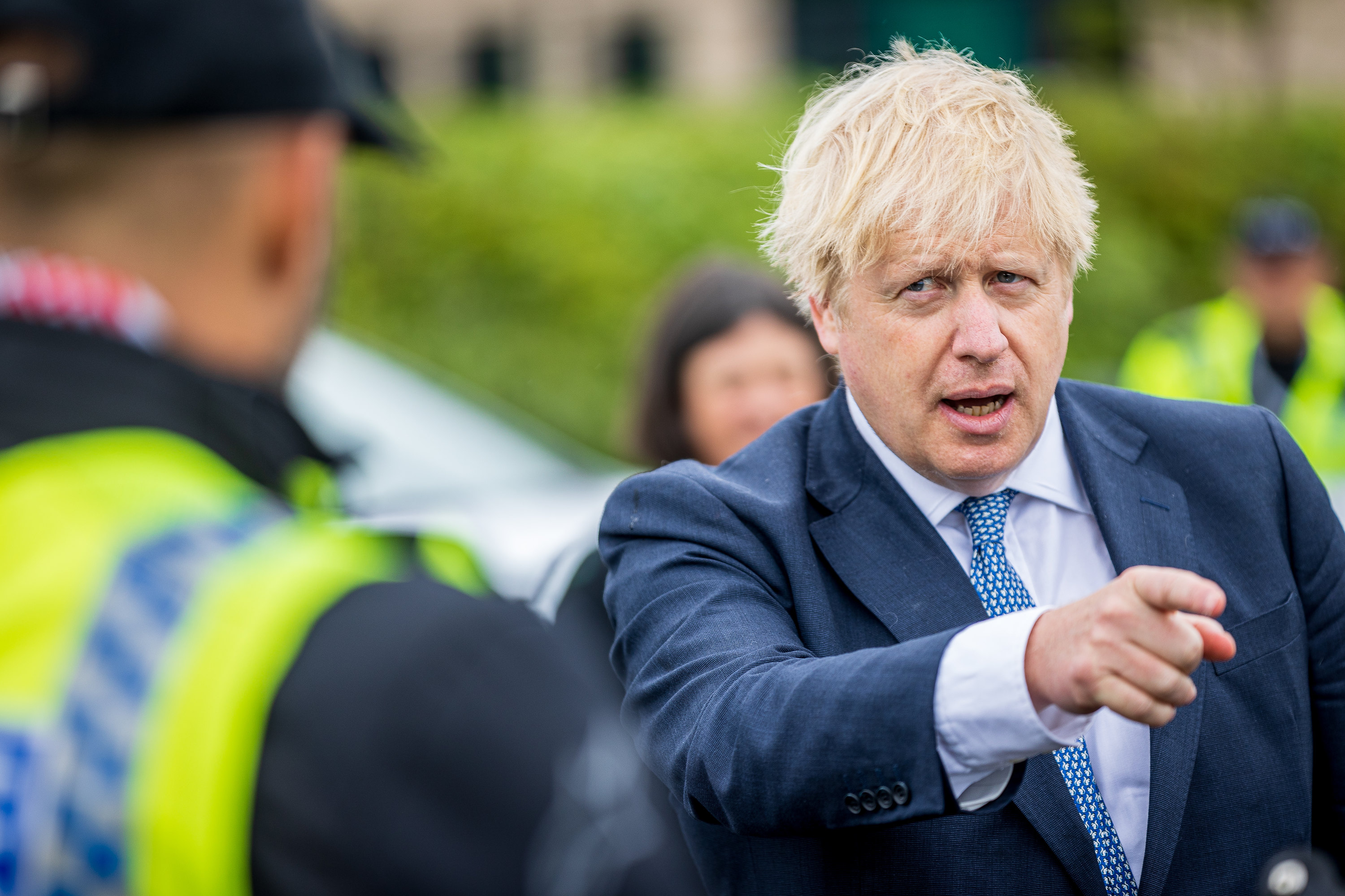 Prime Minister Boris Johnson and Home Secretary Priti Patel meeting Police Officers during a visit to North Yorkshire Police headquarters, Northallerton.