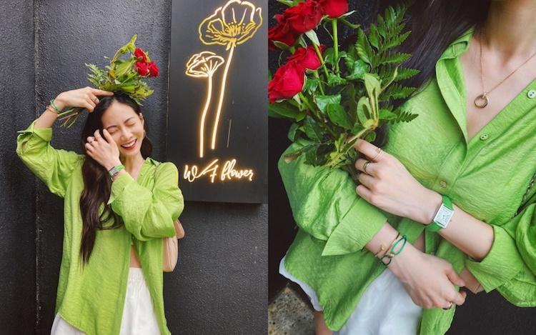為增添層次感,她更疊戴Cartier 釘子系列的手環及戒指,運用同品牌且不同風格的飾品混搭出自己的風格。