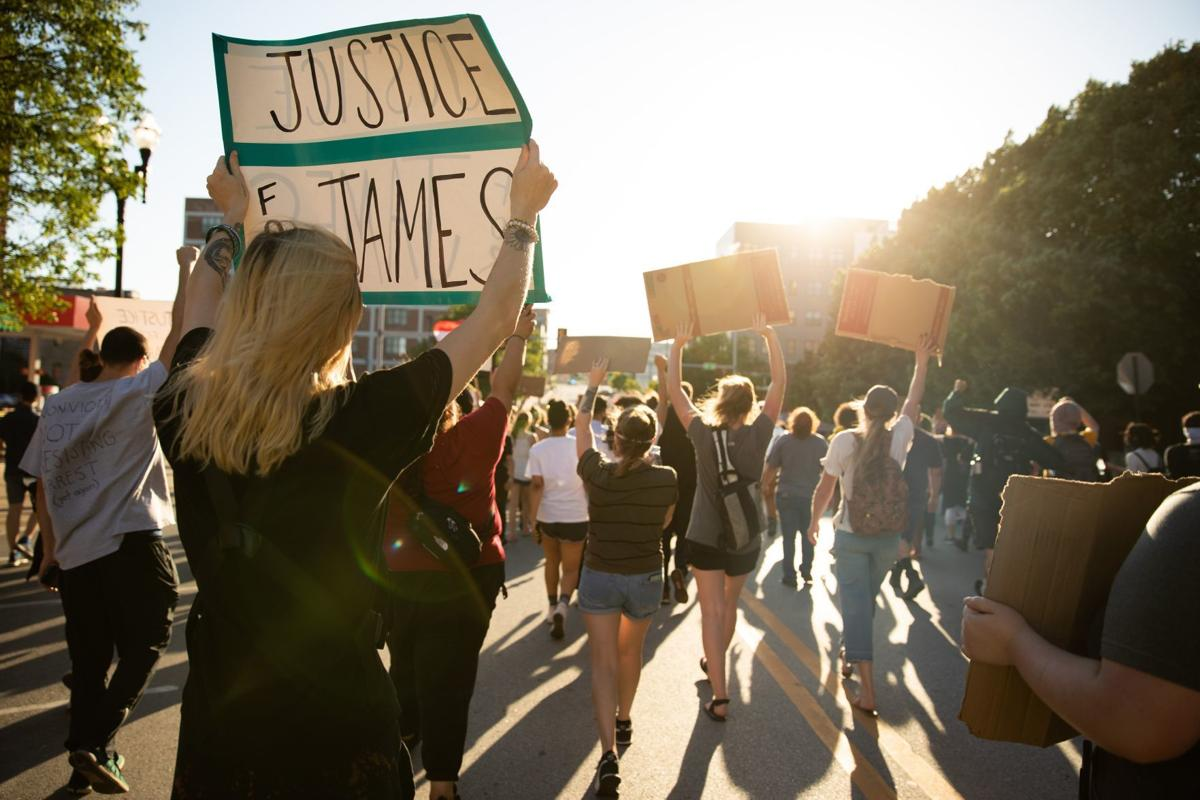 People protest the killing of James Scurlock in Omaha. (Anna Reed/the World-Herald)