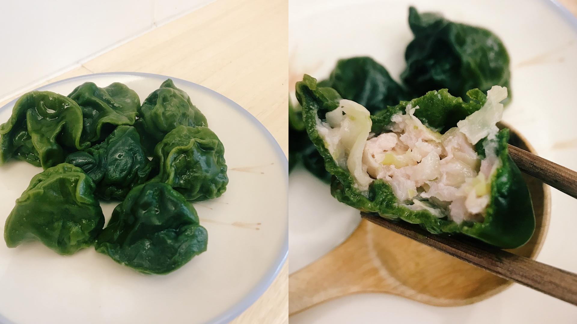 外皮的綠色是使用天然綠藻,吃起來有淡淡草香,略厚的餅皮非常有咬勁。