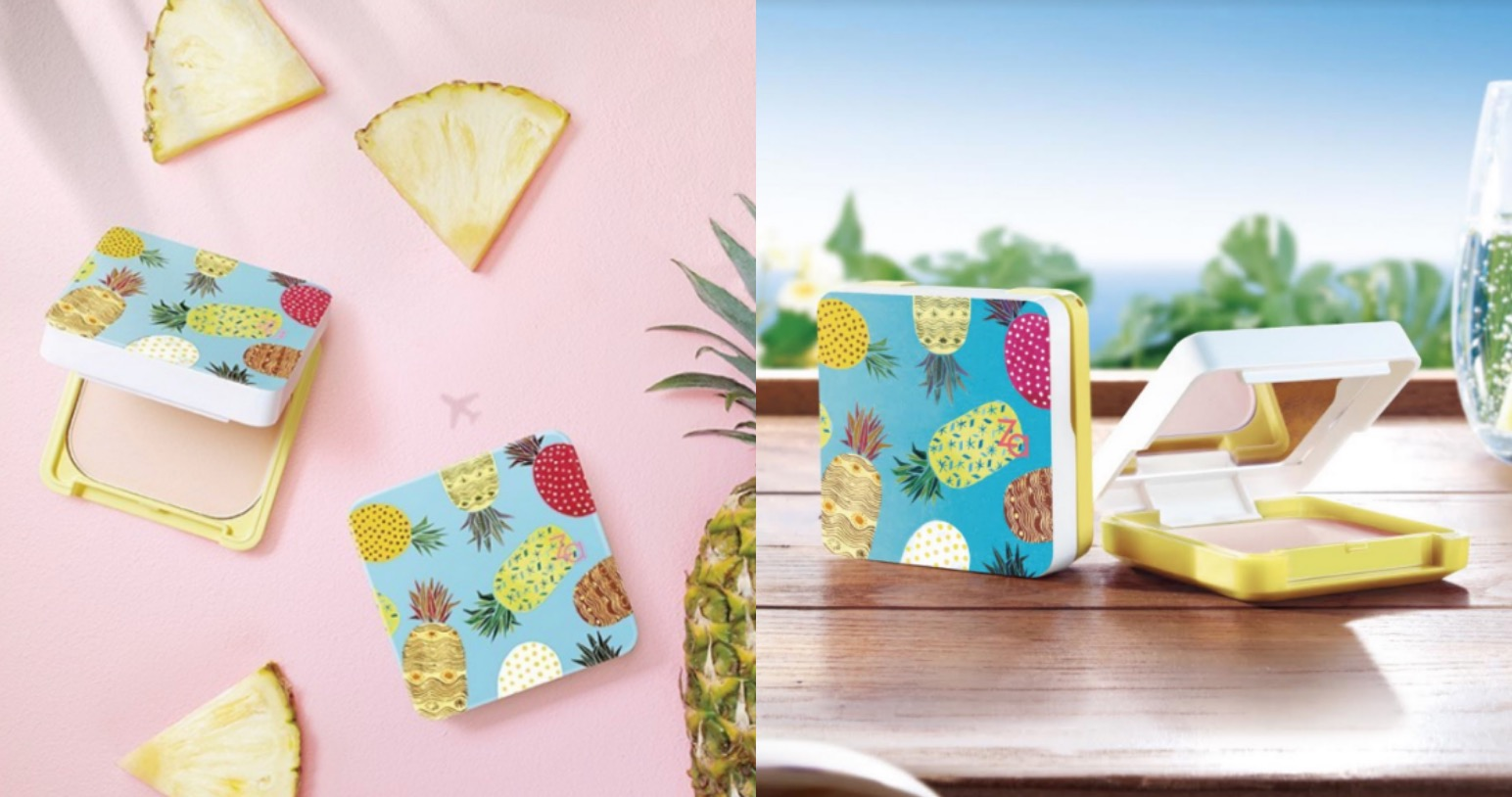 開架非常熱賣的小方盒粉餅,這次推出夏季限定版的鳳梨圖樣超級可愛,如果去墾丁玩很適合拿這個一起拍照,隨身好攜帶,補妝時更顯與眾不同。