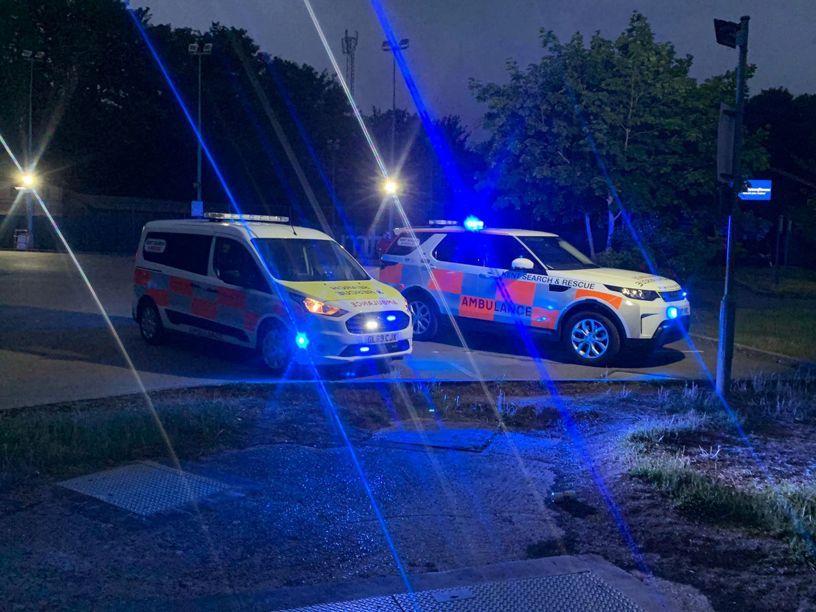 Kent Search & Rescue on the scene on the River Medway in Maidstone. (SWNS)