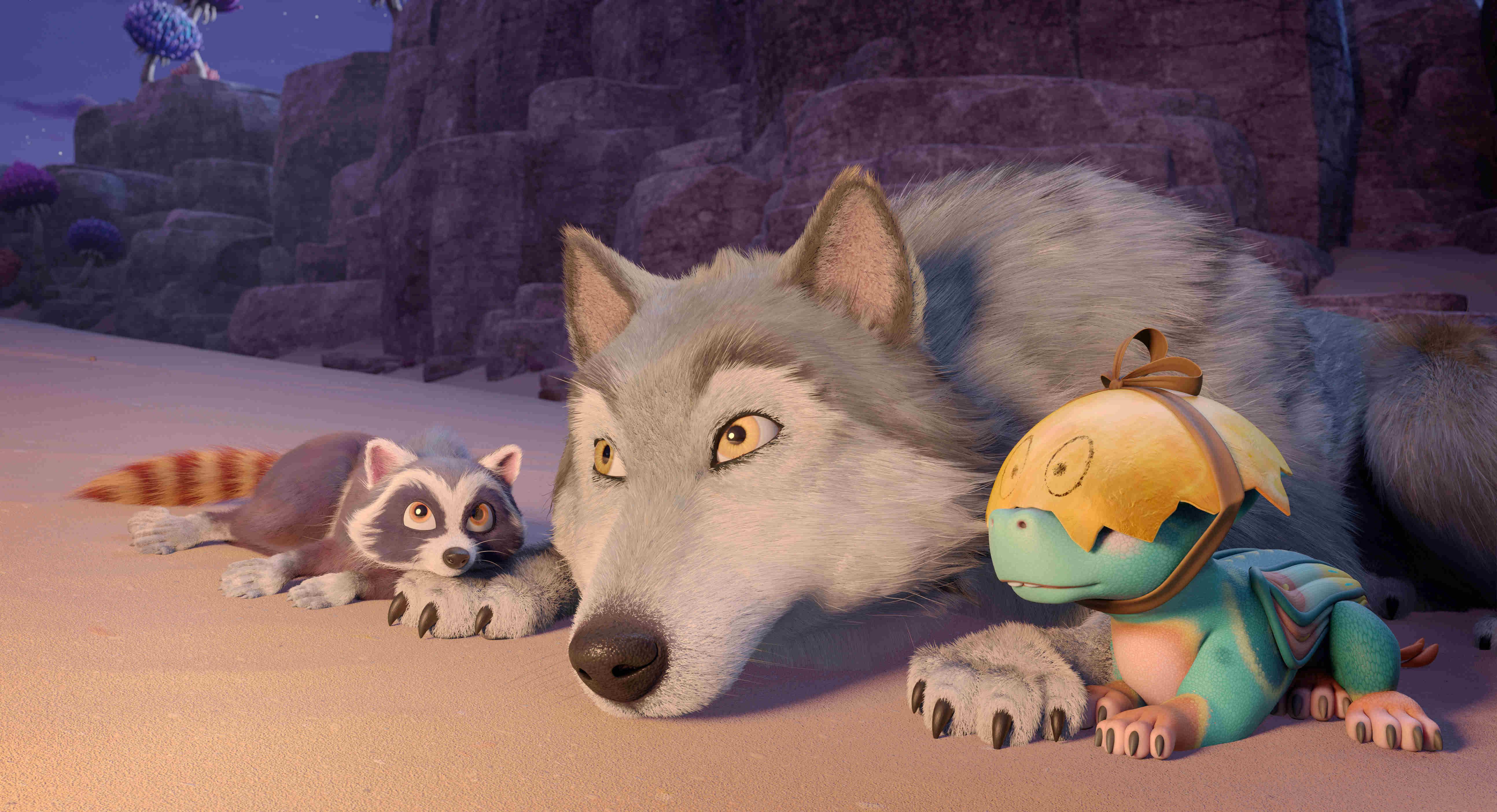 《巴亞拉魔幻冒險》最讓孩子吸睛的角色,是全片0台詞的「動物們」,得不斷吃東西獲取能量的「浣熊比歐」,最是拔得頭籌。而包括善良勇猛的巨狼「萊克斯」、可愛逗人的龍寶寶「努古爾」,也都有小粉絲各擁其主