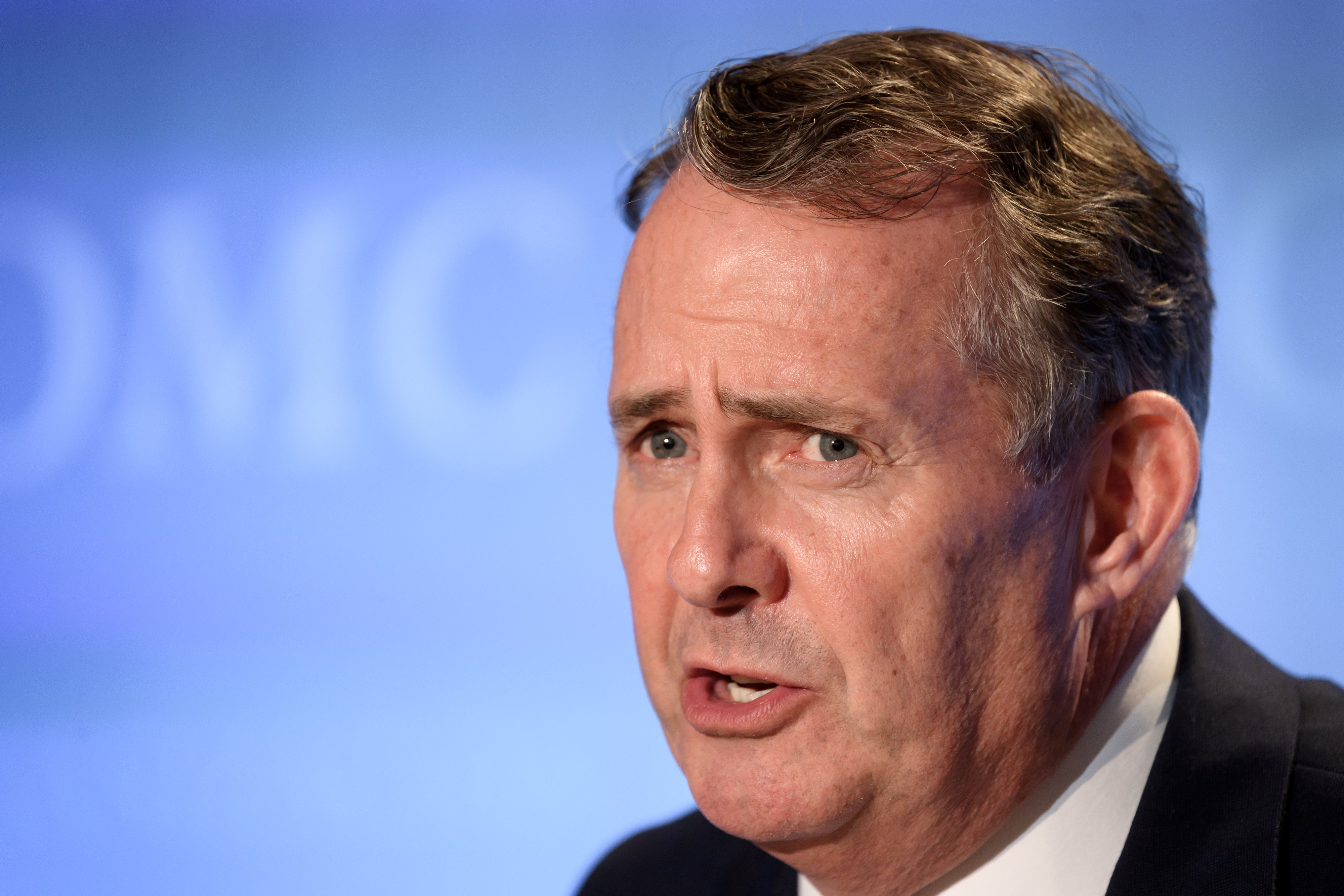 Britain's first post-Brexit international trade secretary Liam Fox gives a press conference on July 17, 2020 in Geneva following his hearing before 164 member states' representatives, as part of the application process to head the World Trade Organization (WTO) as Director General. - The eight candidates battling to become the next head of the beleaguered World Trade Organization make their pitches this week, with three days of auditions started on July 15, 2020. (Photo by Fabrice COFFRINI / AFP) (Photo by FABRICE COFFRINI/AFP via Getty Images)