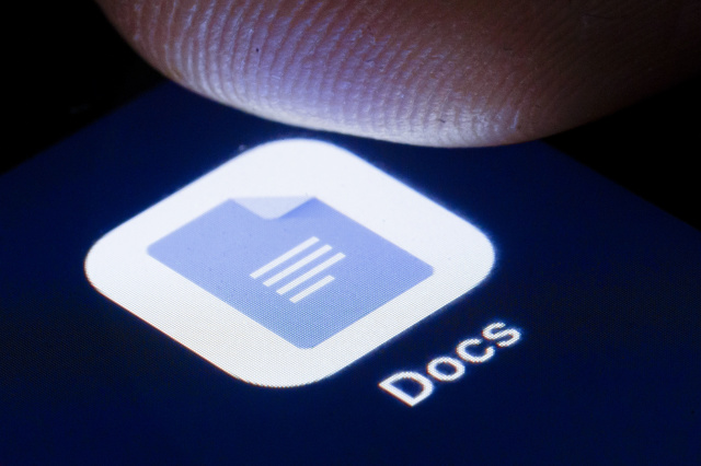 BERLIN, GERMANY - APRIL 22: The logo of the online office software Google Docs is shown on the display of a smartphone on April 22, 2020 in Berlin, Germany. (Photo by Thomas Trutschel/Photothek via Getty Images)