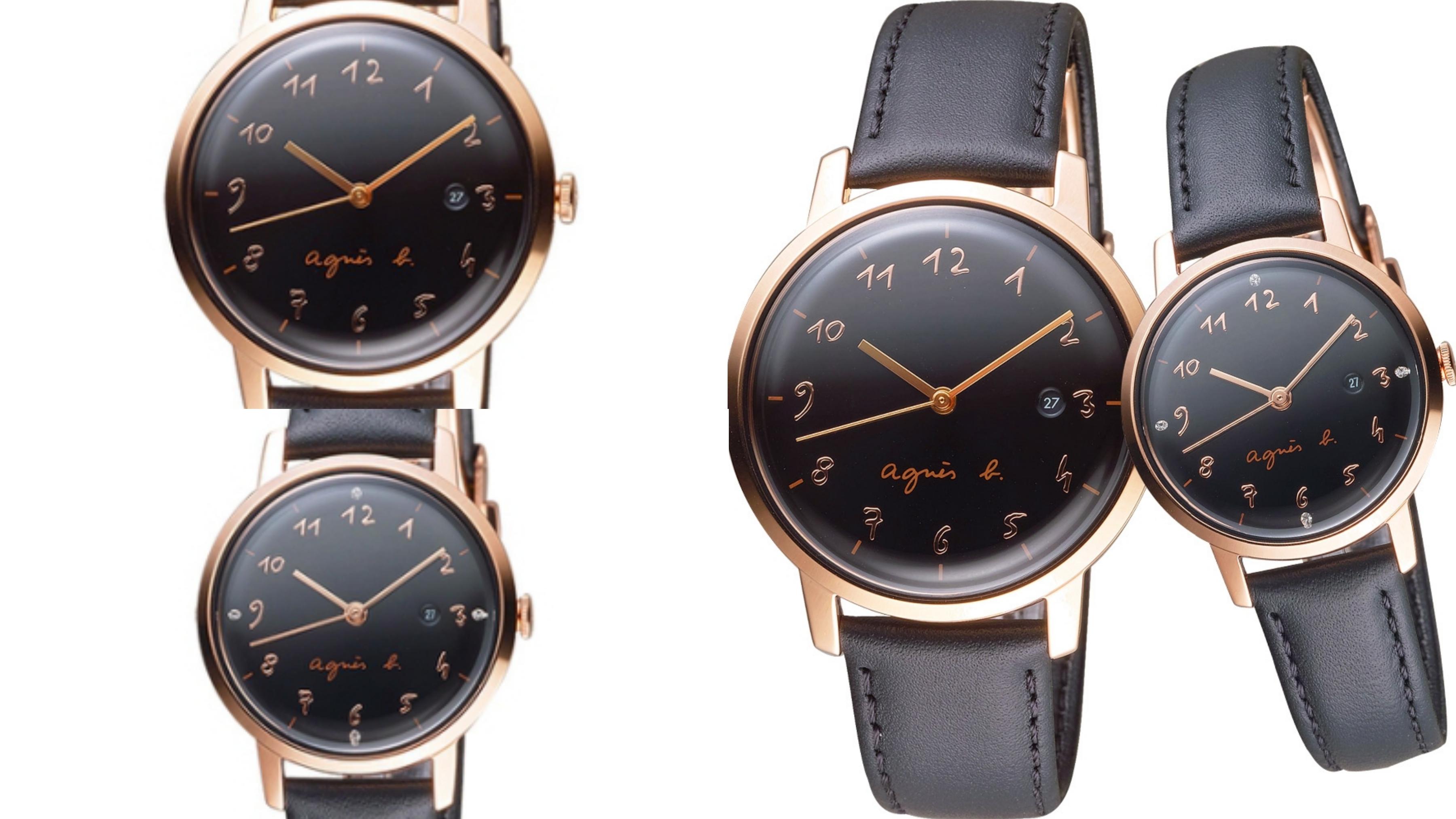 黑色的錶盤展現俐落時髦,金色錶圈更顯精緻